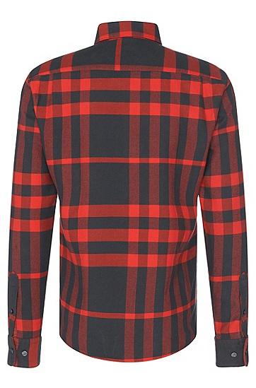 Kariertes Slim-Fit Hemd aus Baumwolle: 'Rubens_36F', Hellrot