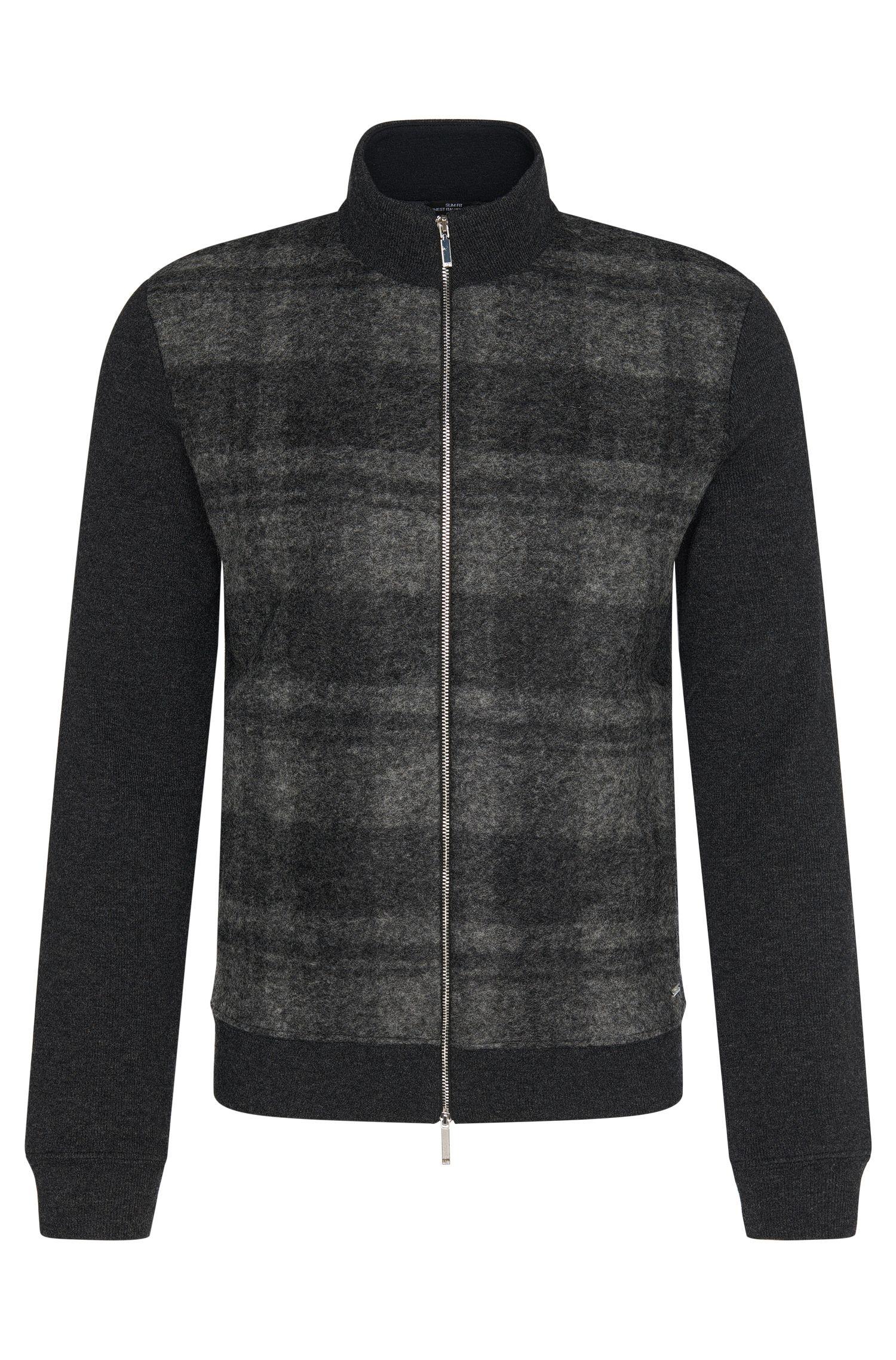 Mottled slim-fit sweatshirt jacket in wool blend with cotton: 'Soule 05'
