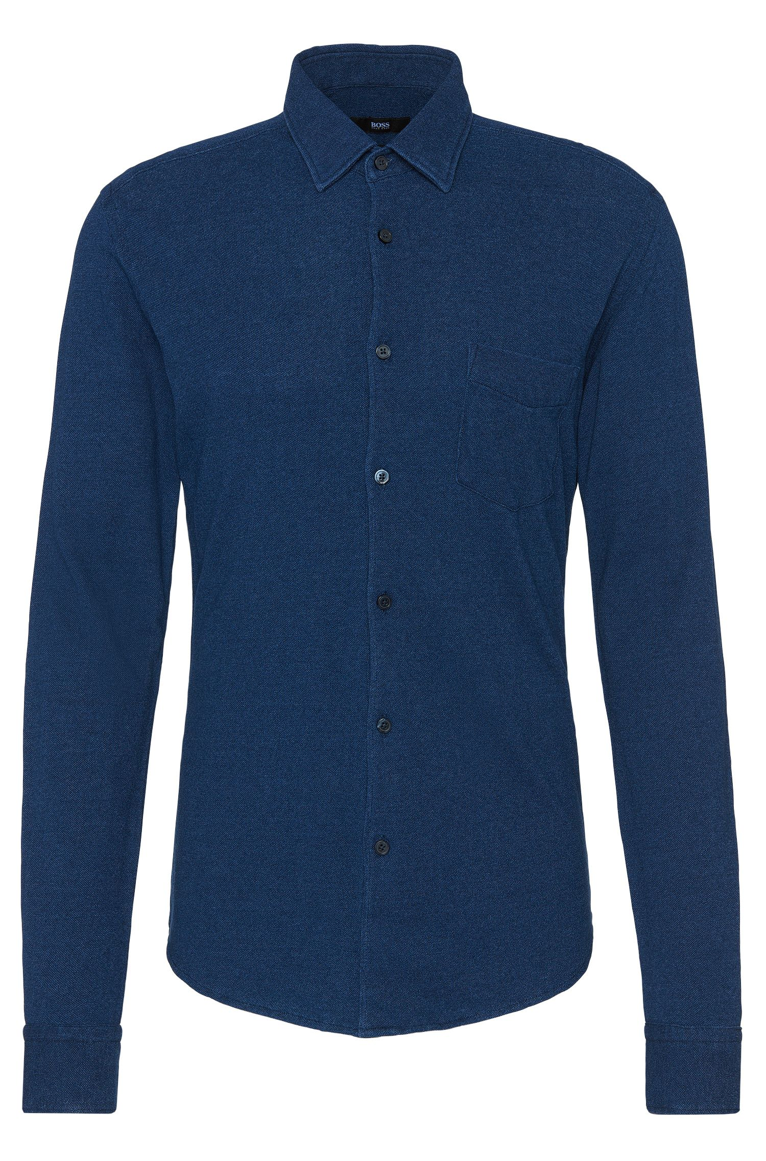 Camicia slim fit in cotone con colorazione indigo: 'Reid_FP'