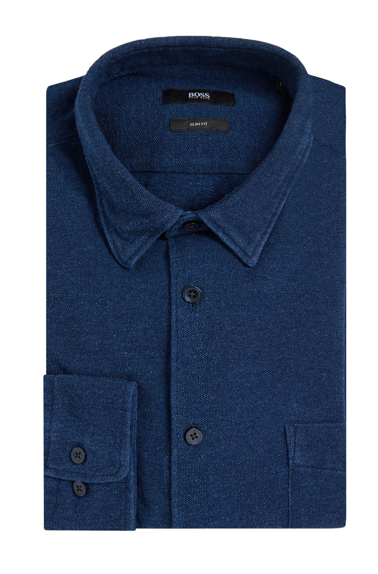 Chemise Slim Fit en coton, au coloris indigo: «Reid_FP»