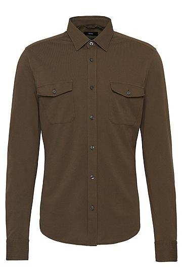 Slim-Fit Hemd aus Baumwolle im Poloshirt-Stil: 'Rune_30', Khaki