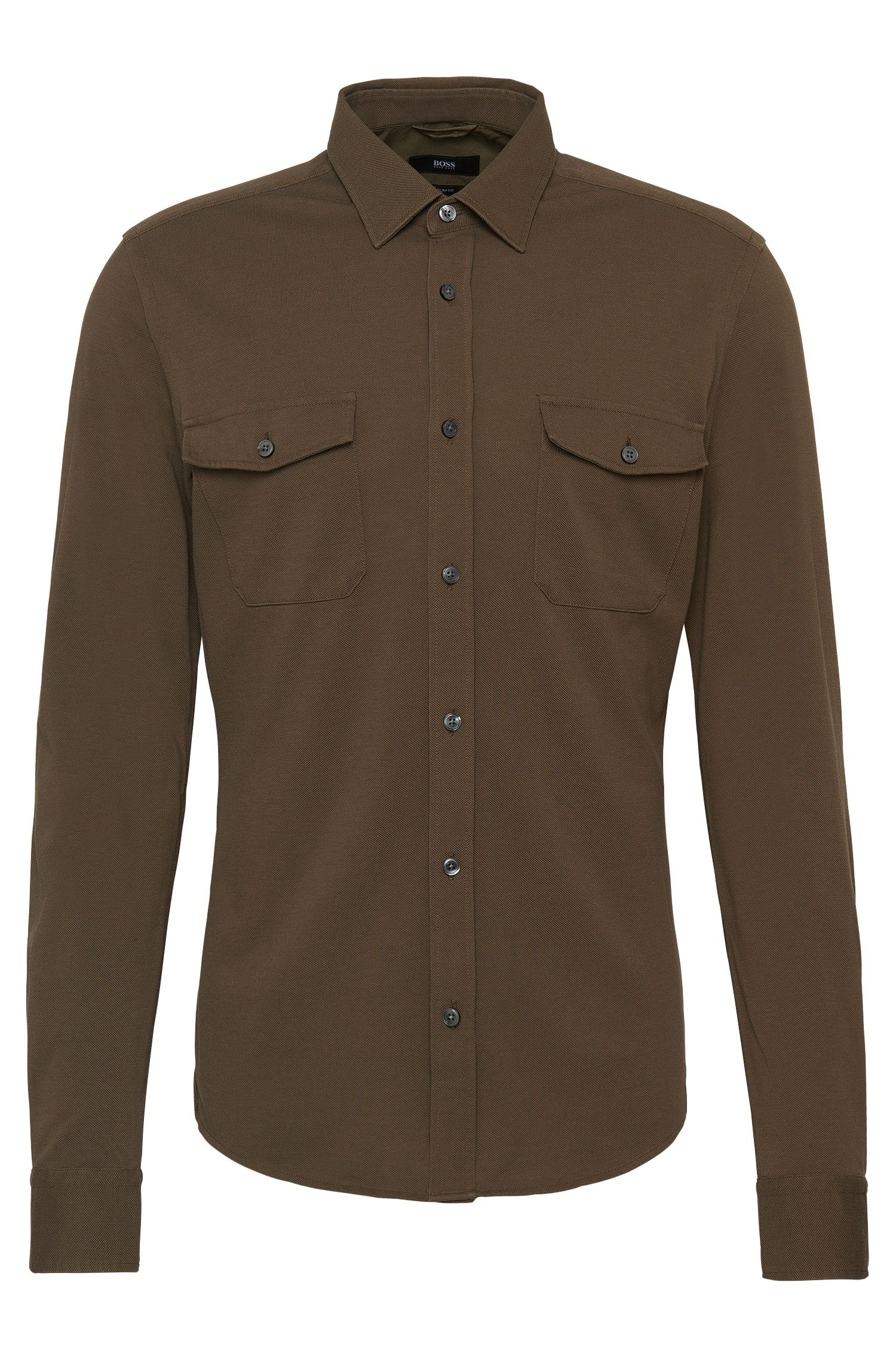 Slim-fit cotton shirt in polo shirt style: 'Rune_30'