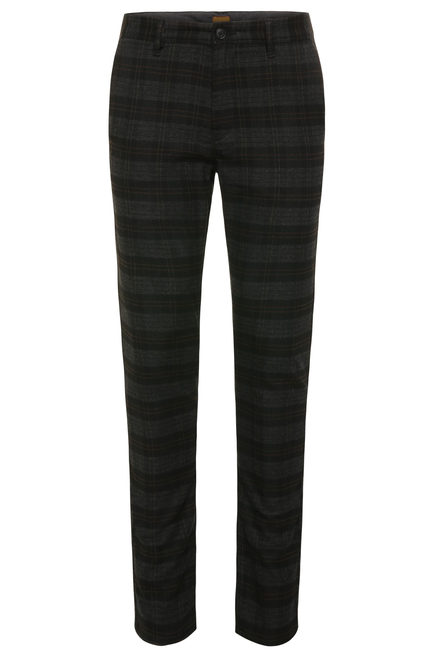 Patterned slim-fit trousers in a stretchy fabric blend with viscose: 'Slender-W'