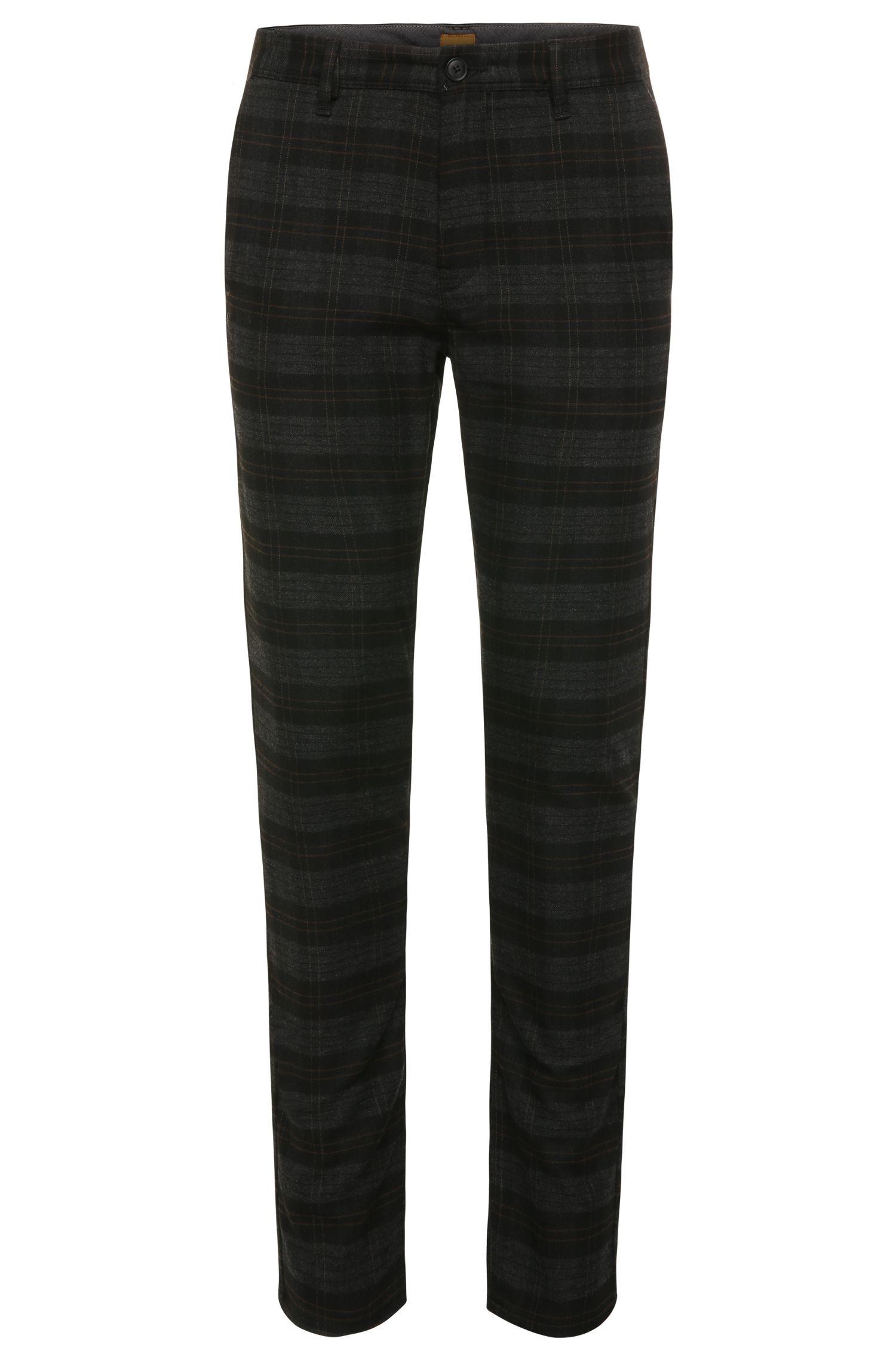 Slim-fit broek met dessin, van een elastische materiaalmix met viscose: 'Slender-W'