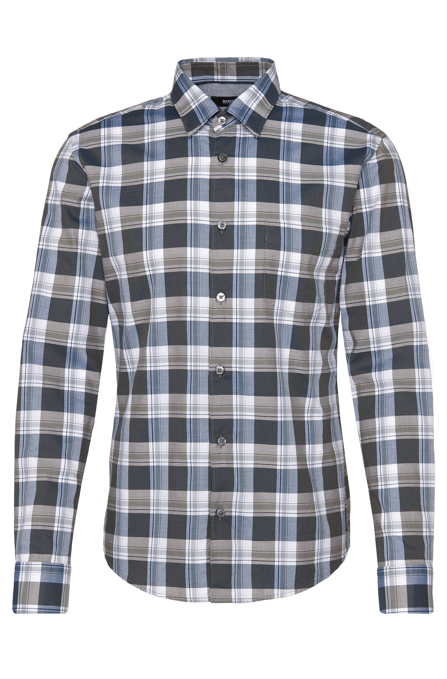 Checked slim-fit shirt in cotton: 'Reid_4FP'