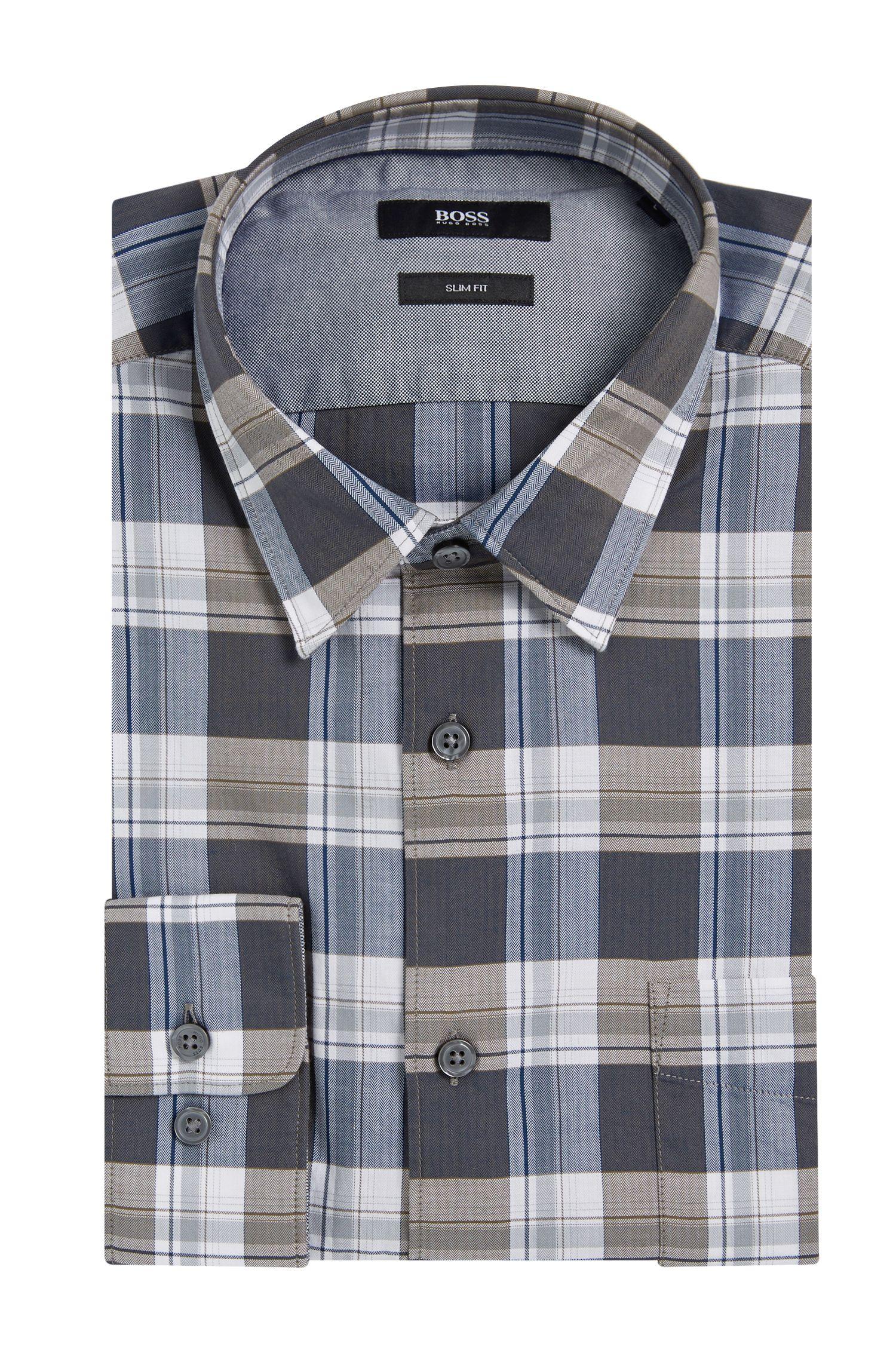 Kariertes Slim-Fit Hemd aus Baumwolle: 'Reid_4FP'