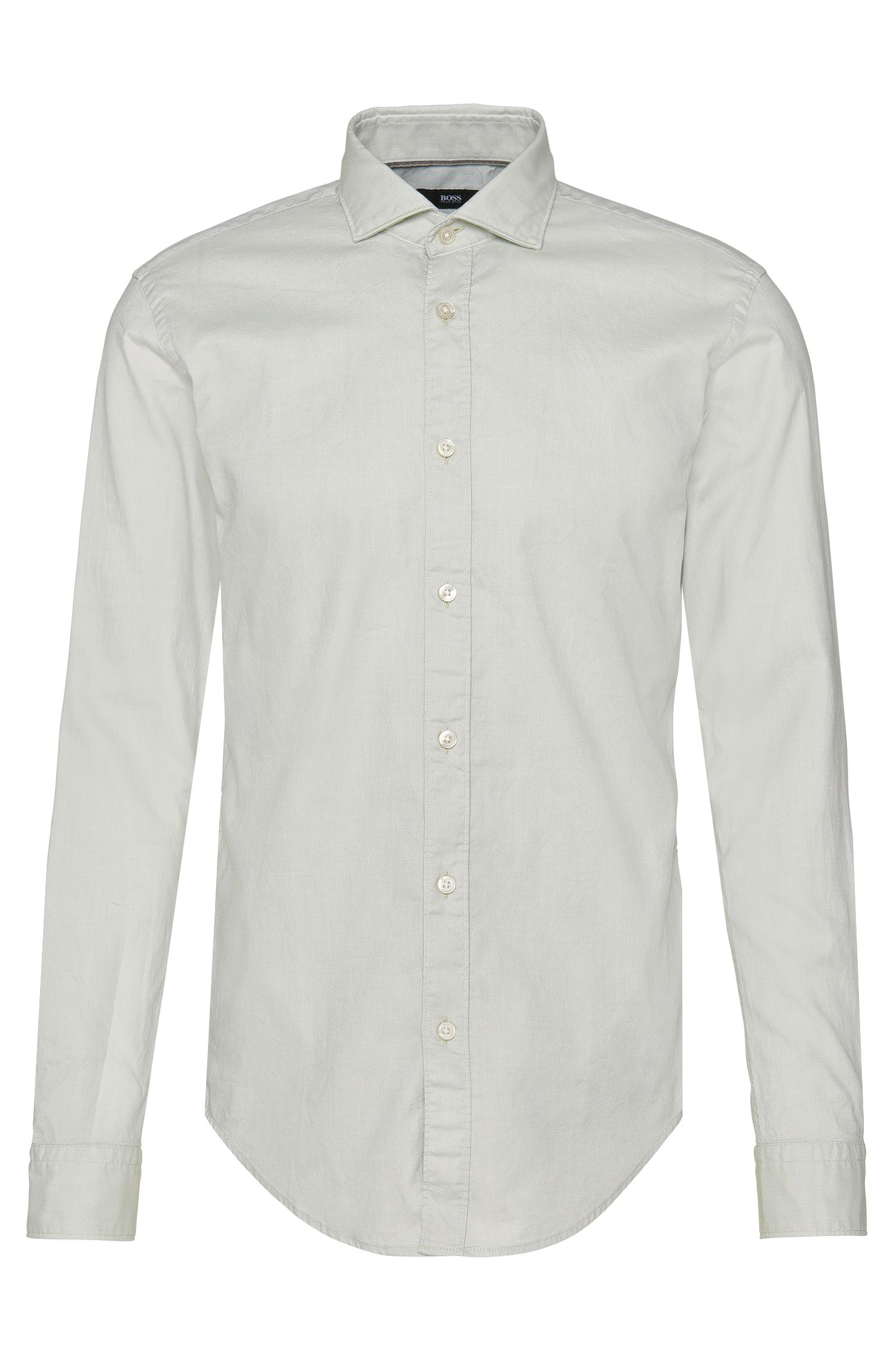 Slim-fit shirt in cotton with patterned cuff interior: 'Ridley_4'