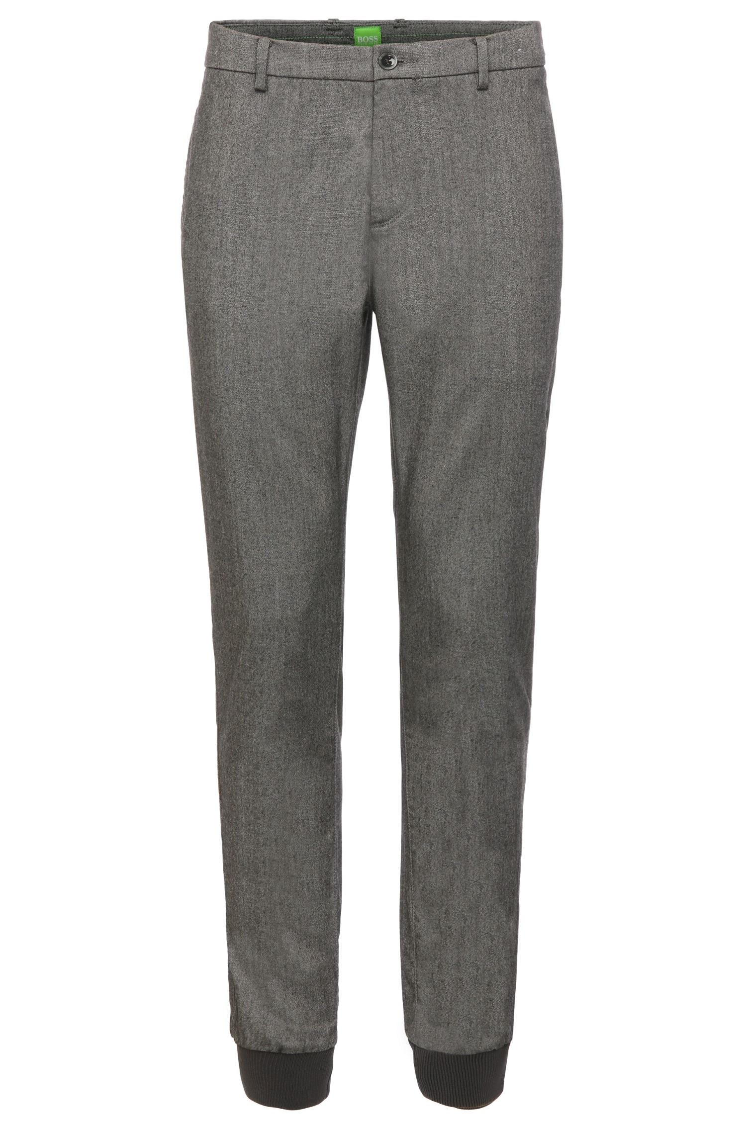 Slim-fit trousers in a stretchy fabric blend with viscose and wool: 'Lukes 7-W'