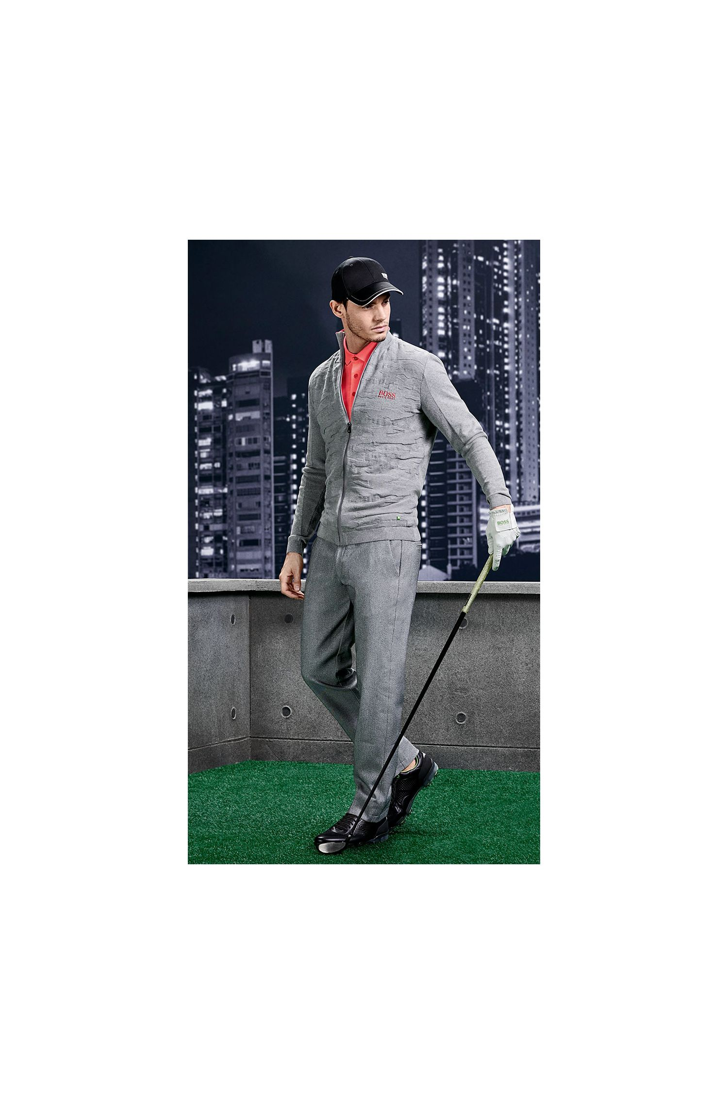 Texturierte Slim-Fit Golf-Hose aus Material-Mix: ´Hakan-Slim`
