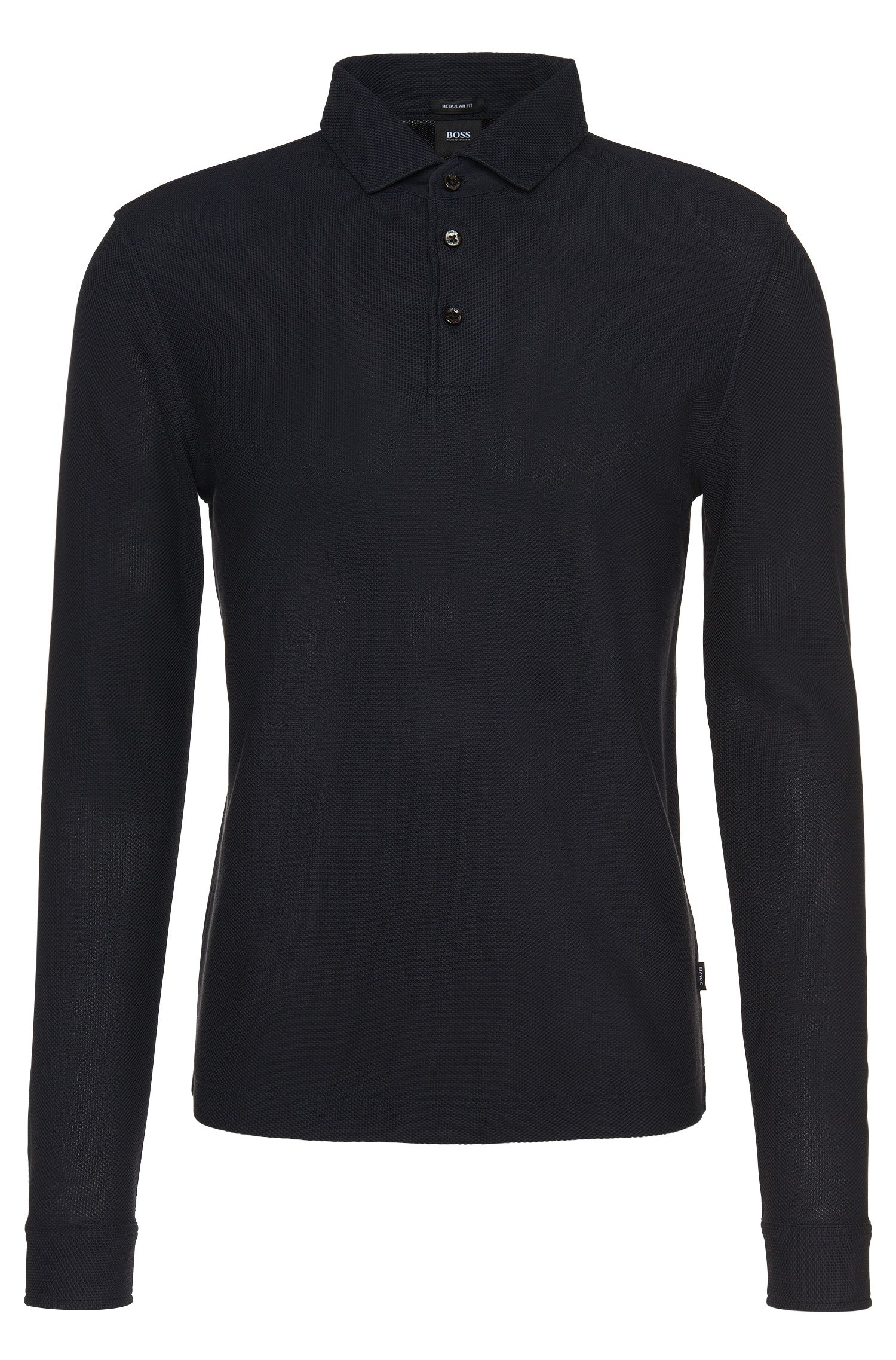 Regular-fit long-sleeved polo shirt in cotton: 'Pickell 06'