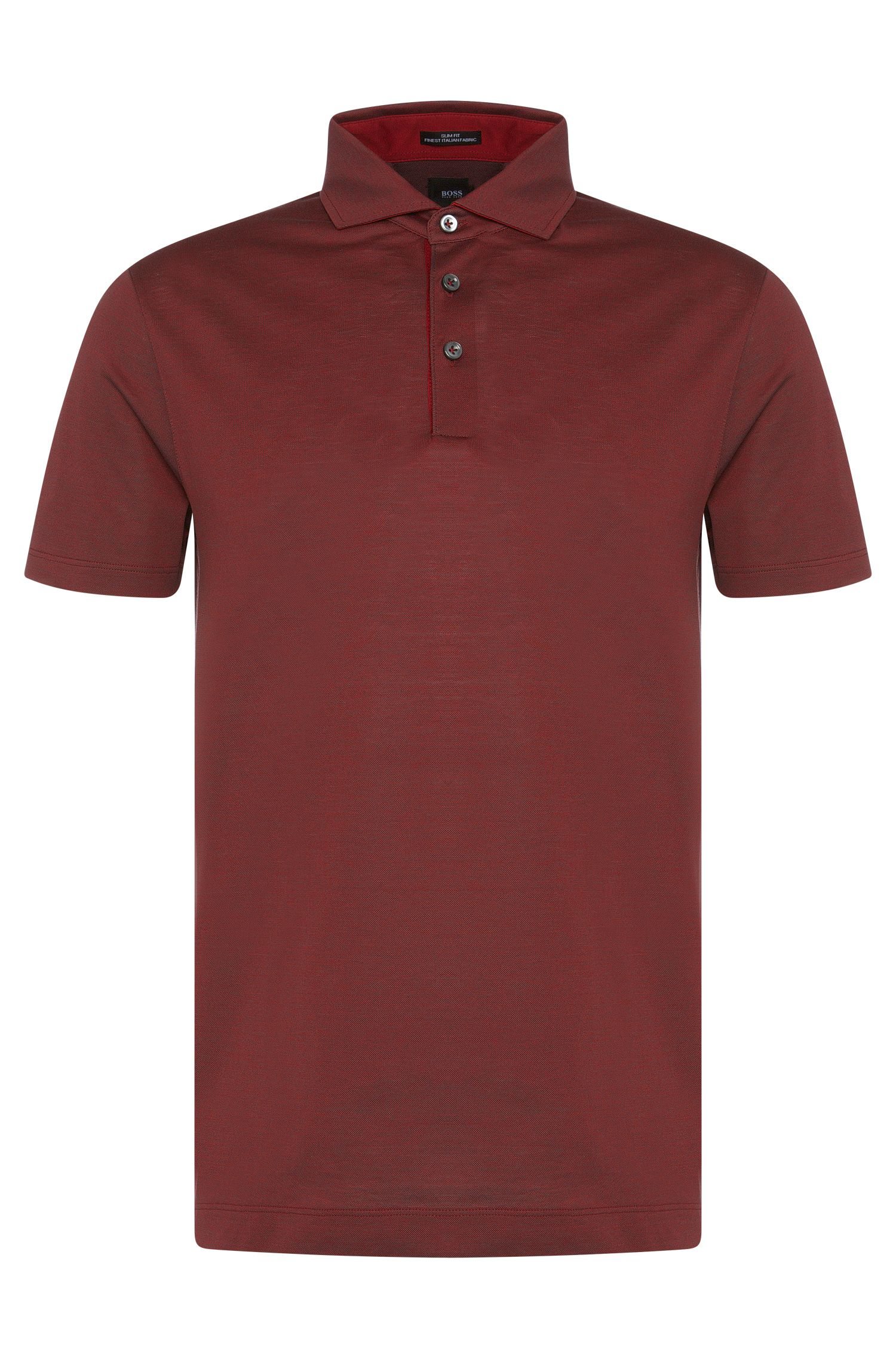 Meliertes Slim-Fit Tailored Poloshirt aus Baumwolle: 'T-Pryde 23'
