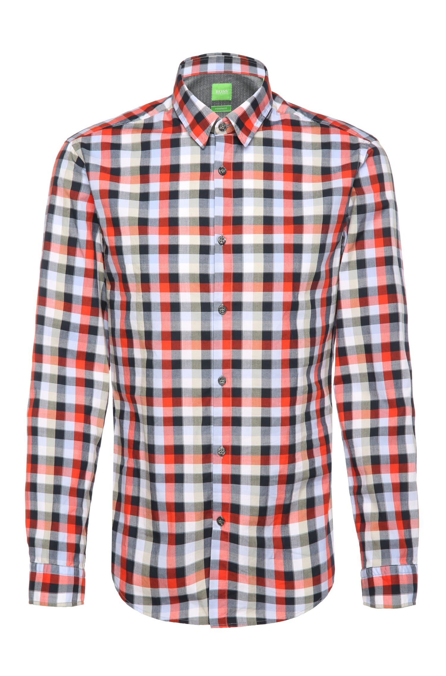 Regular-fit checked shirt in lightweight cotton: 'C-Bustai'