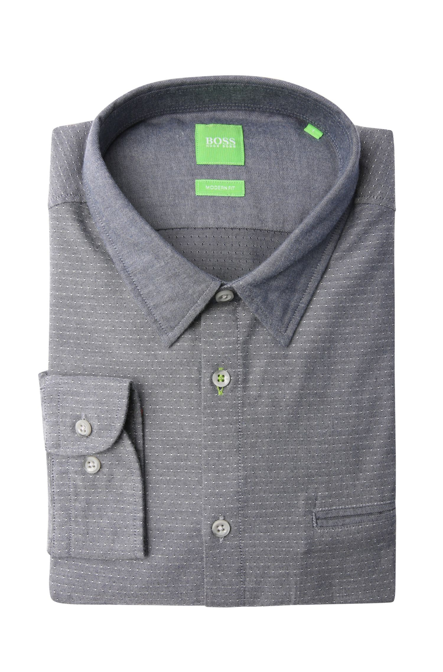 Fein gepunktetes Regular-Fit Hemd aus Baumwolle: ´Bacchis`