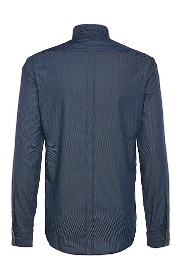 Regular-Fit Baumwollhemd mit Allover-Muster: ´Bagata`, Dunkelblau