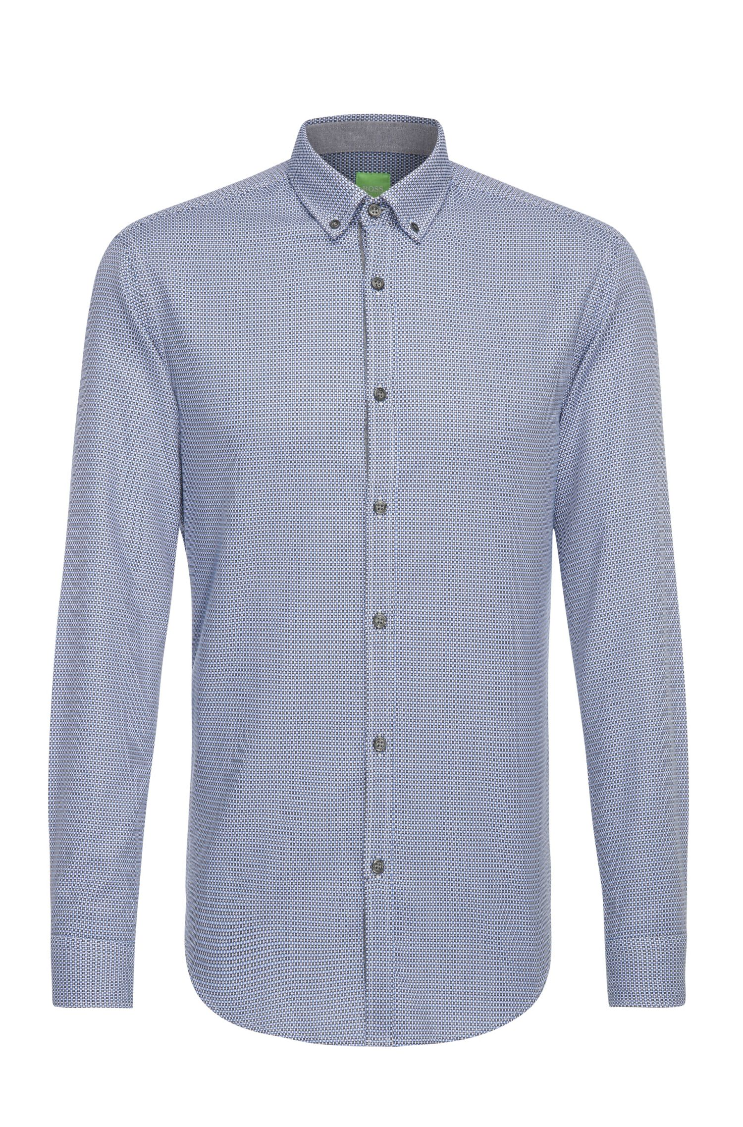 Regular-fit cotton shirt with all-over pattern: 'C-Baldasar'