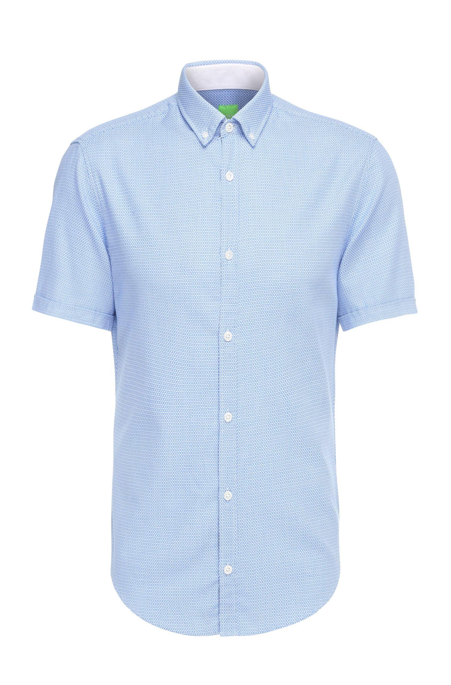 Katoenen regular-fit overhemd met korte mouwen en dessin: 'C-Baldasarino'