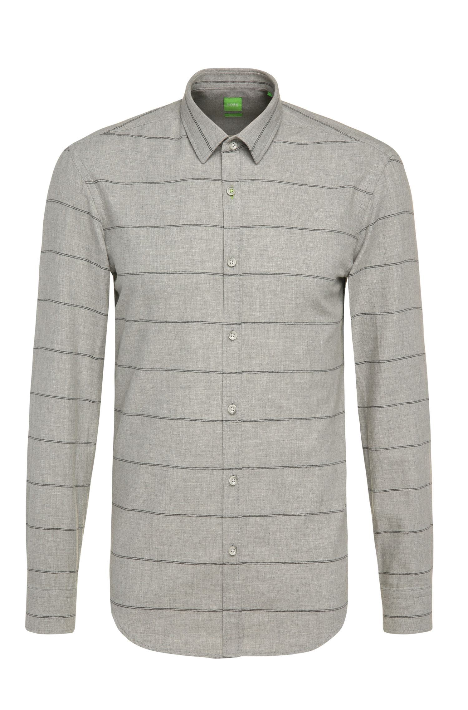 Slim-fit shirt in cotton with stripe pattern: 'Bambra'