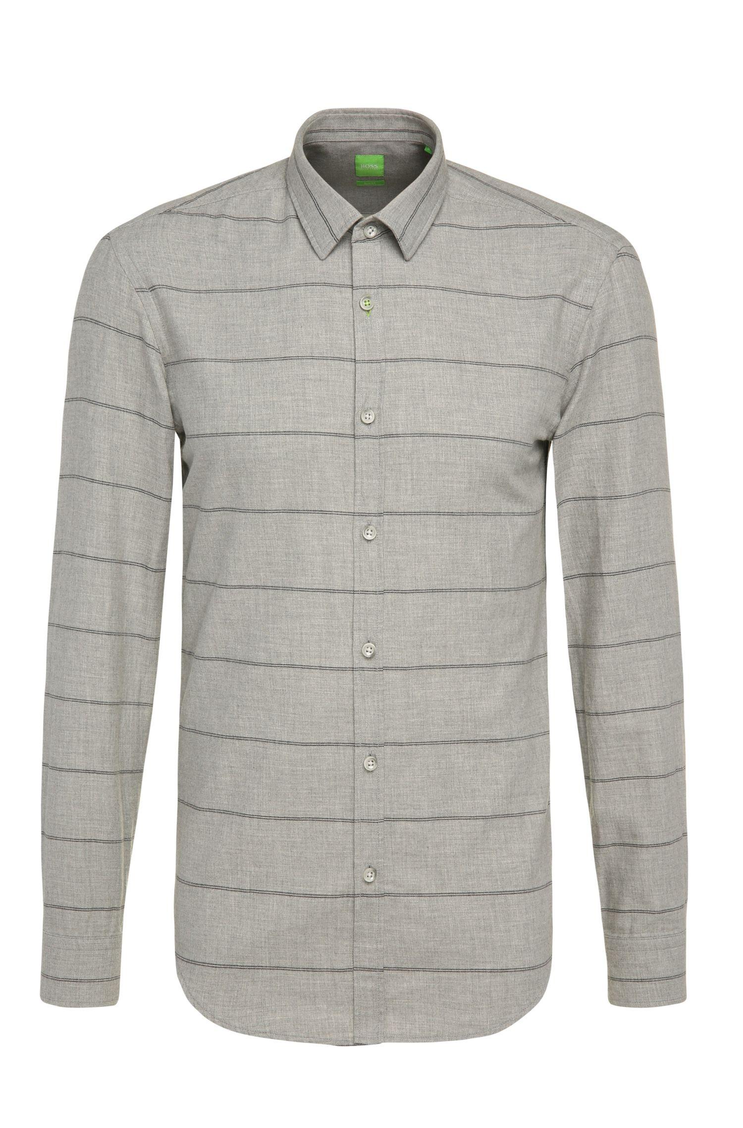 Slim-fit overhemd van katoen met streepdessin: 'Bambra'