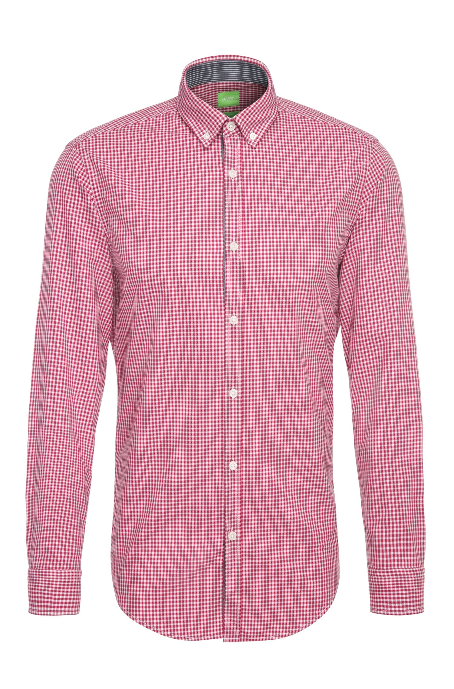 Camicia in cotone regular fit con motivo a quadri: 'C-Baldasar'