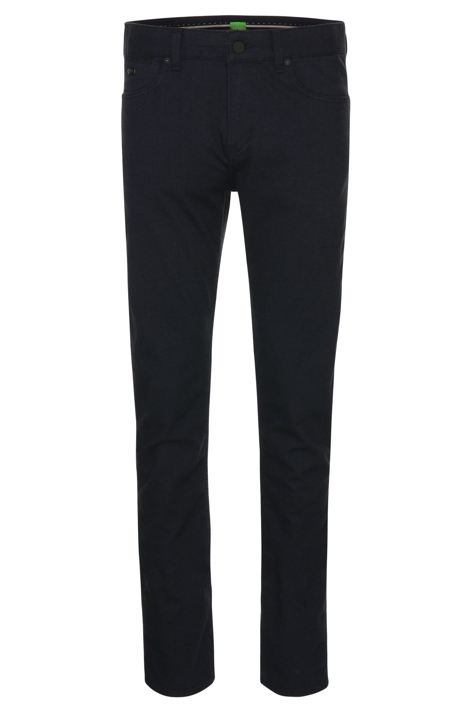 Solid-coloured slim-fit trousers with distinctive texture: 'C-Delaware2-4-20'