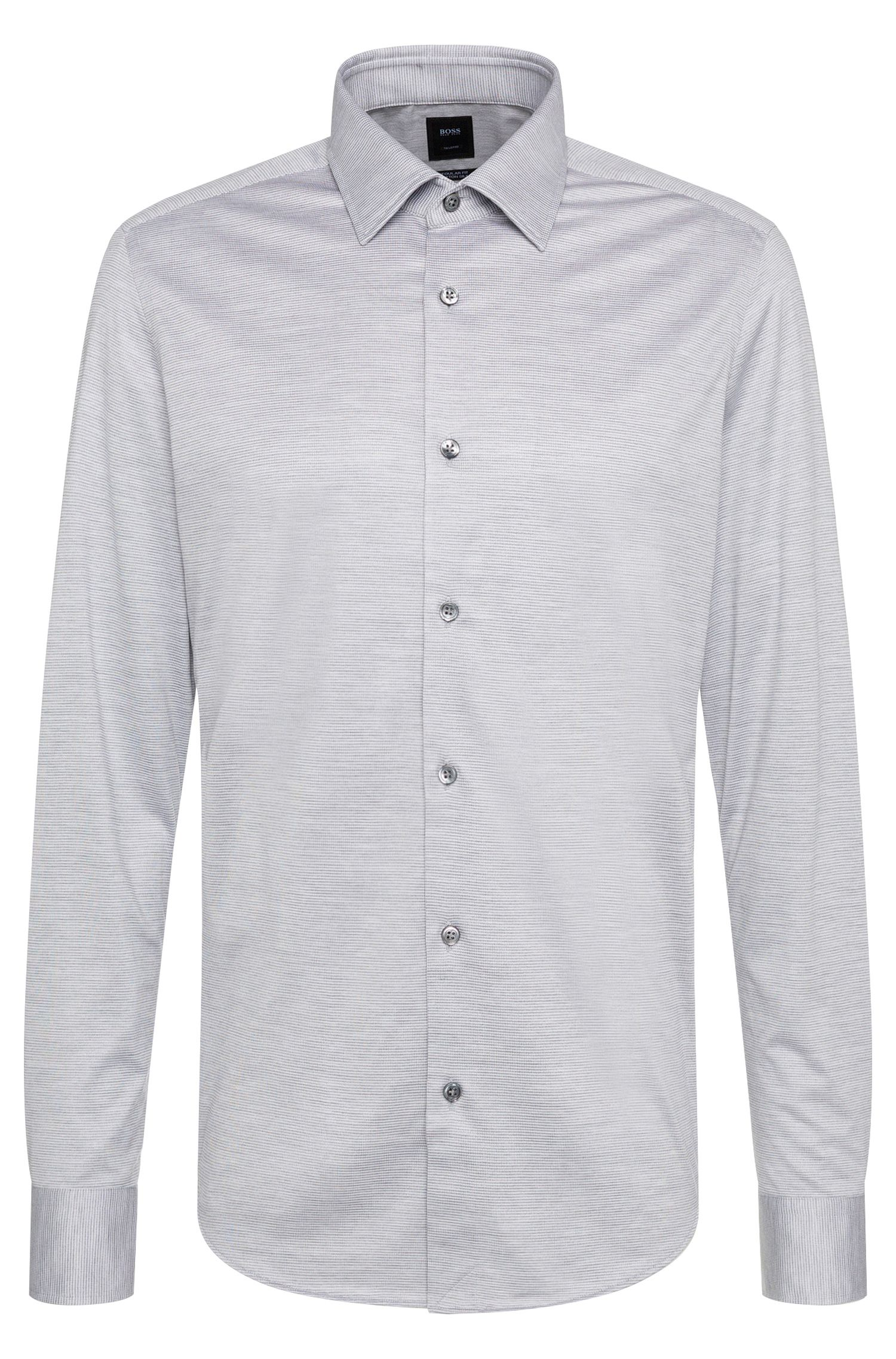 Patterned regular-fit shirt in cotton and silk: 'T-Landon_32F'