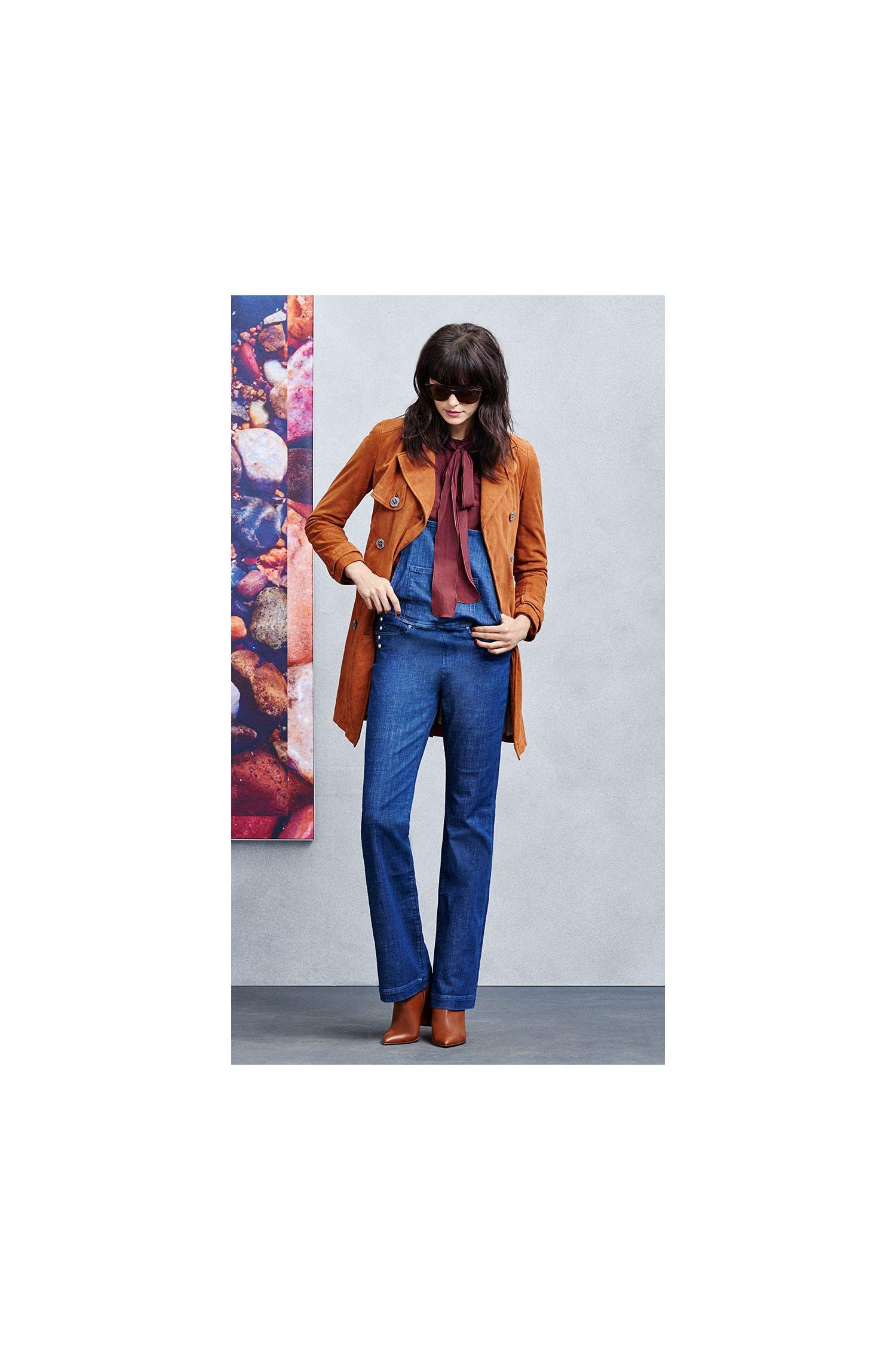 Jeans-Latzhose mit Schlag aus elastischem Baumwoll-Mix: ´Orange J90 Paris`
