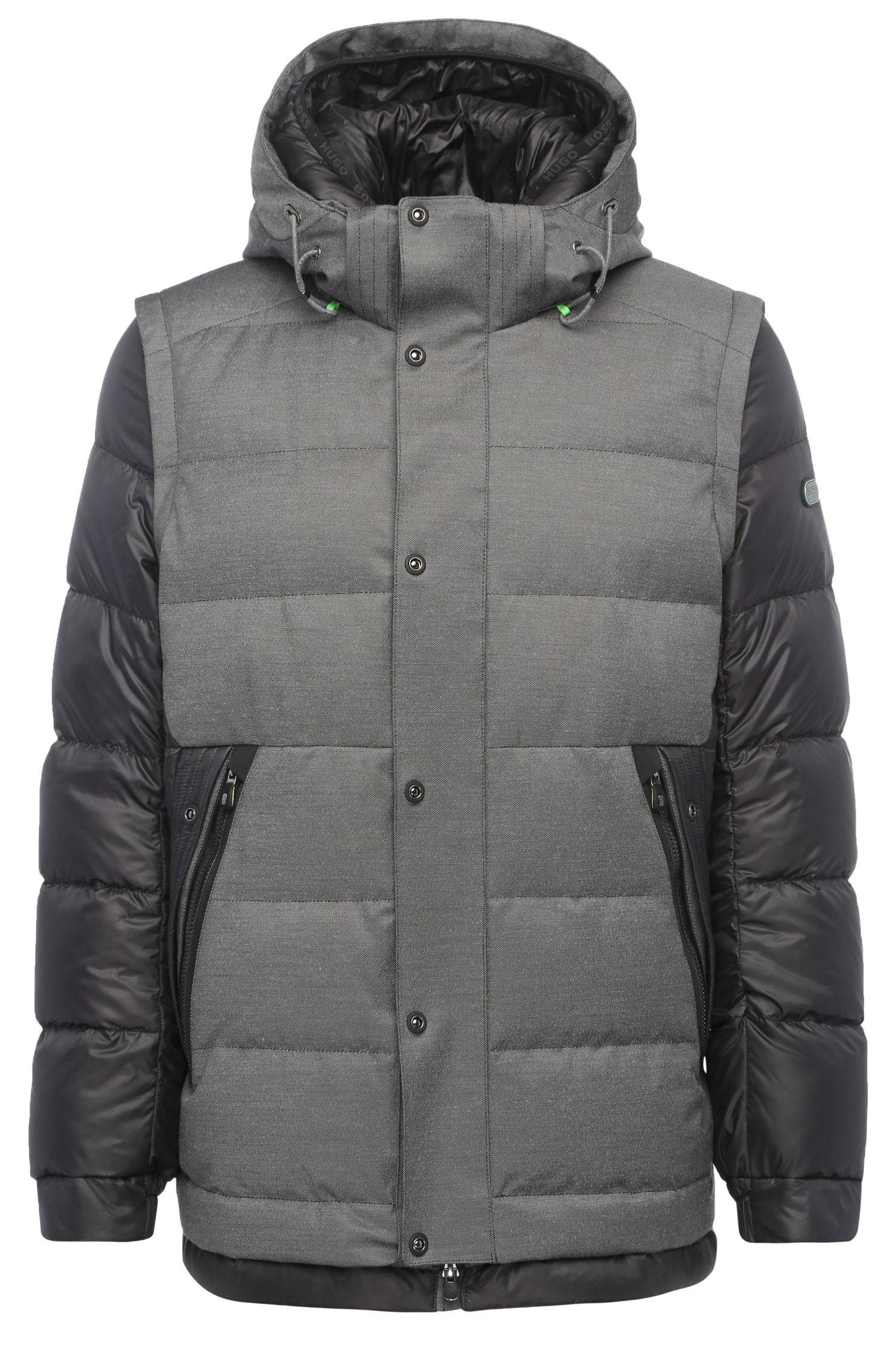 Down-padded outdoor jacket with detachable sleeves: 'Jiandro'