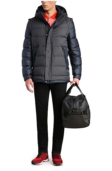 Daunengefütterte Outdoor-Jacke mit abnehmbaren Ärmeln: ´Jiandro`, Dunkelblau