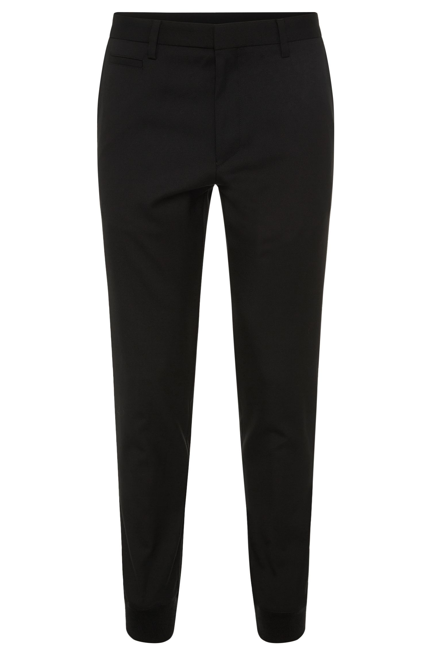 Tapered-fit trousers in new wool with ribbed ankle cuffs: 'Hinns'