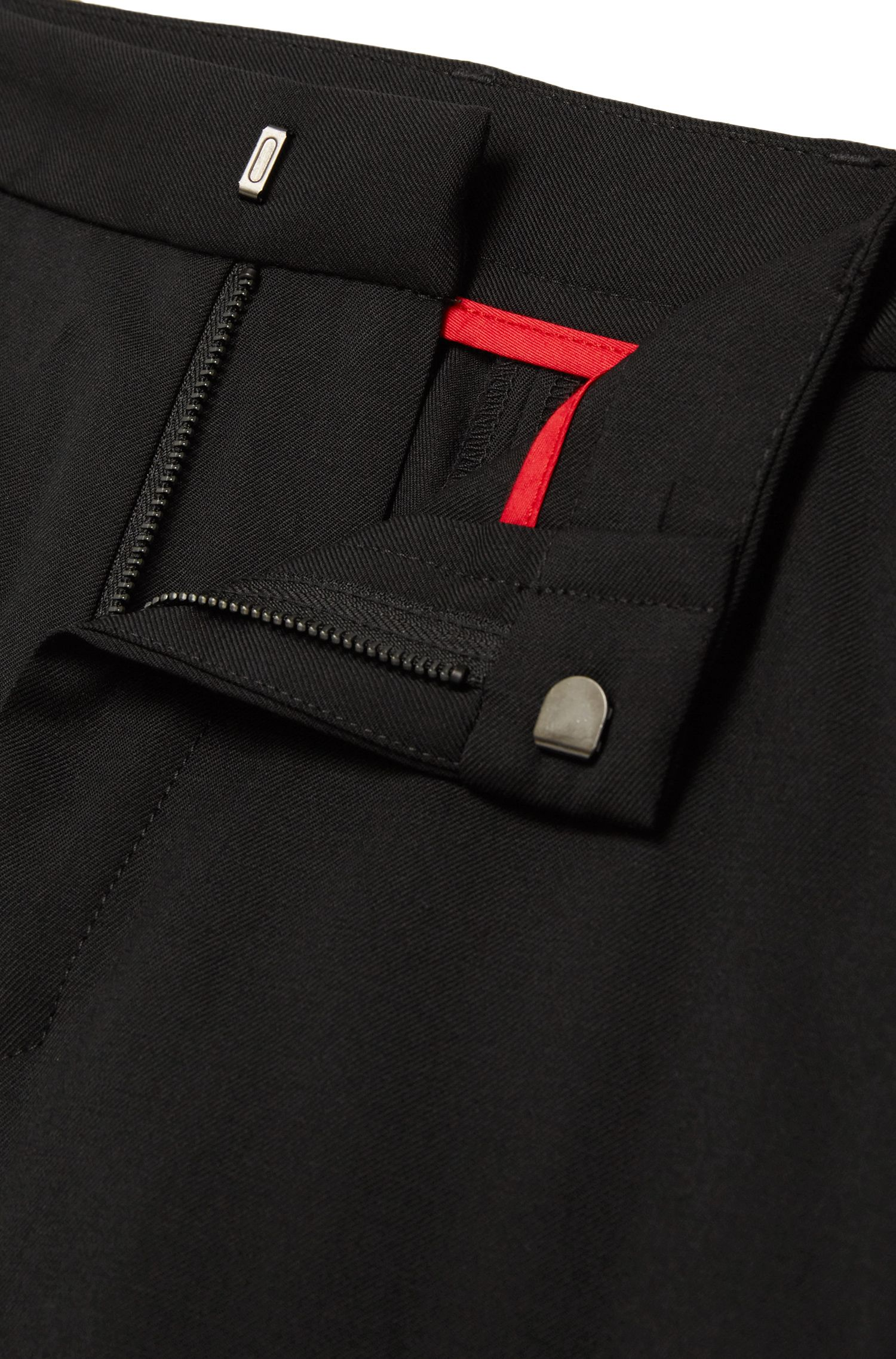 Tapered-fit broek van scheerwol met geribde beenboorden: 'Hinns'