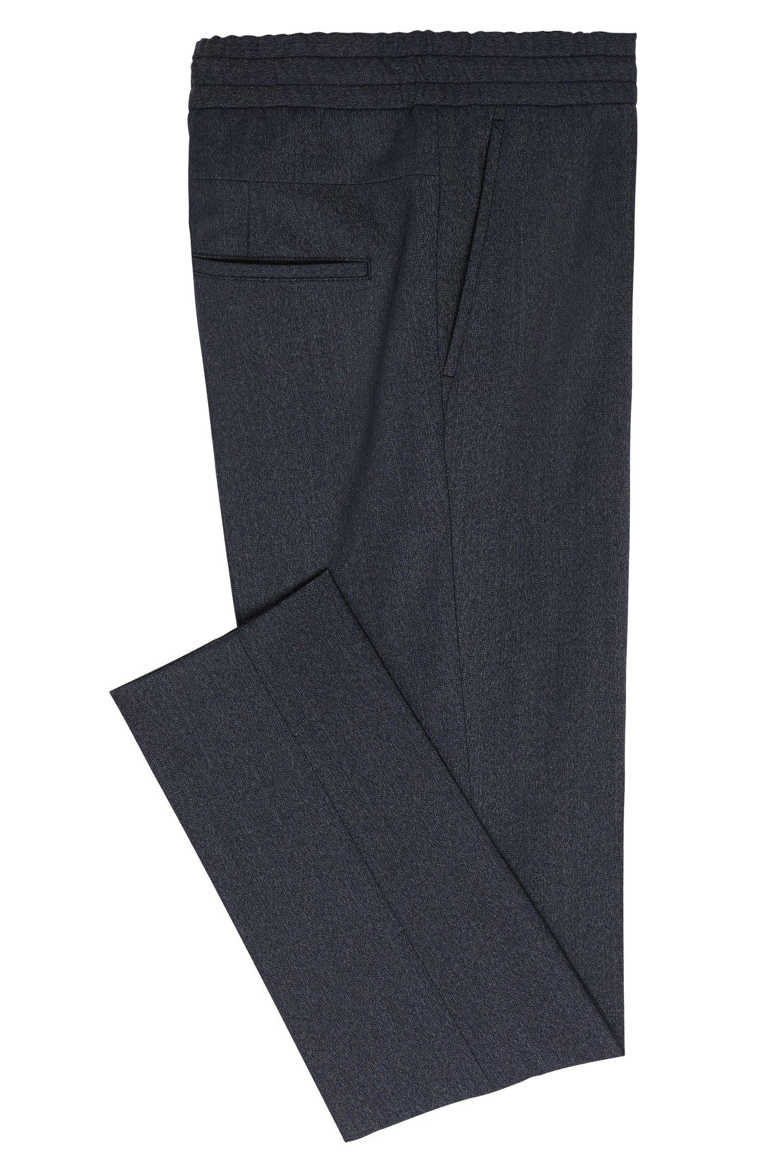 Tapered-fit broek van een scheerwolmix met tunnelkoord: 'Himesh3'