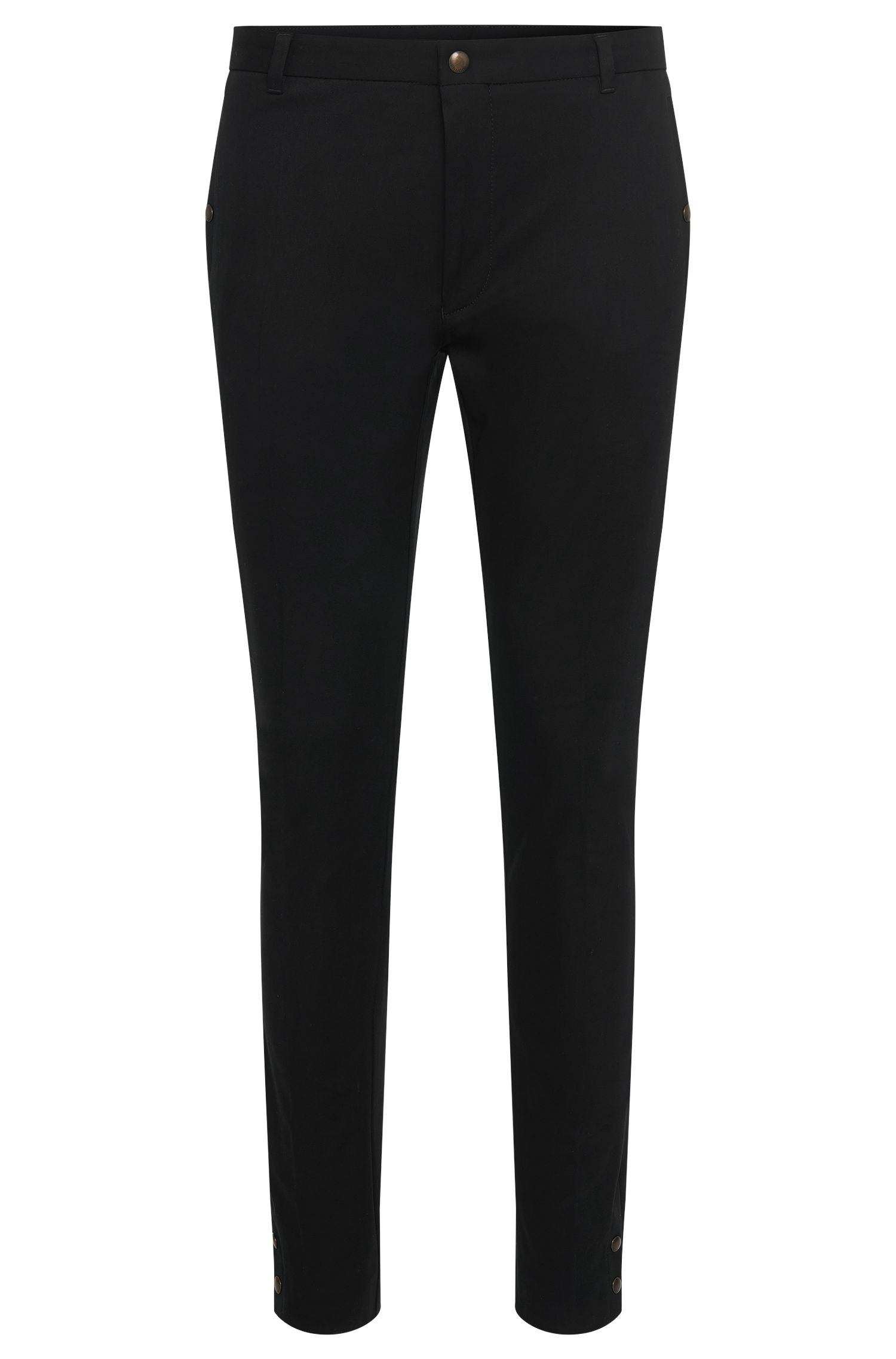 Pantalon Tapered Fit en coton stretch avec plis de repassage : « Hary »