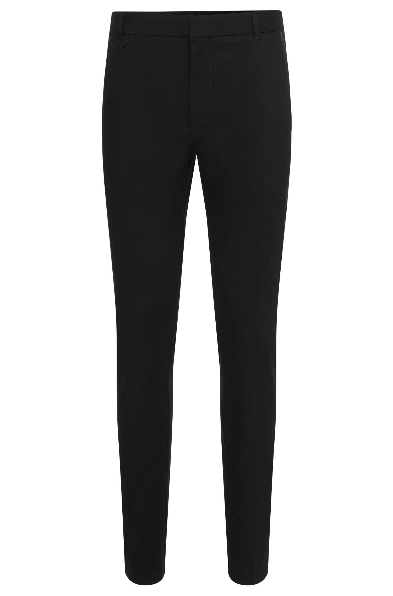 Pantalón extra slim fit en algodón elástico con detalles en imitación piel: 'Halyk'