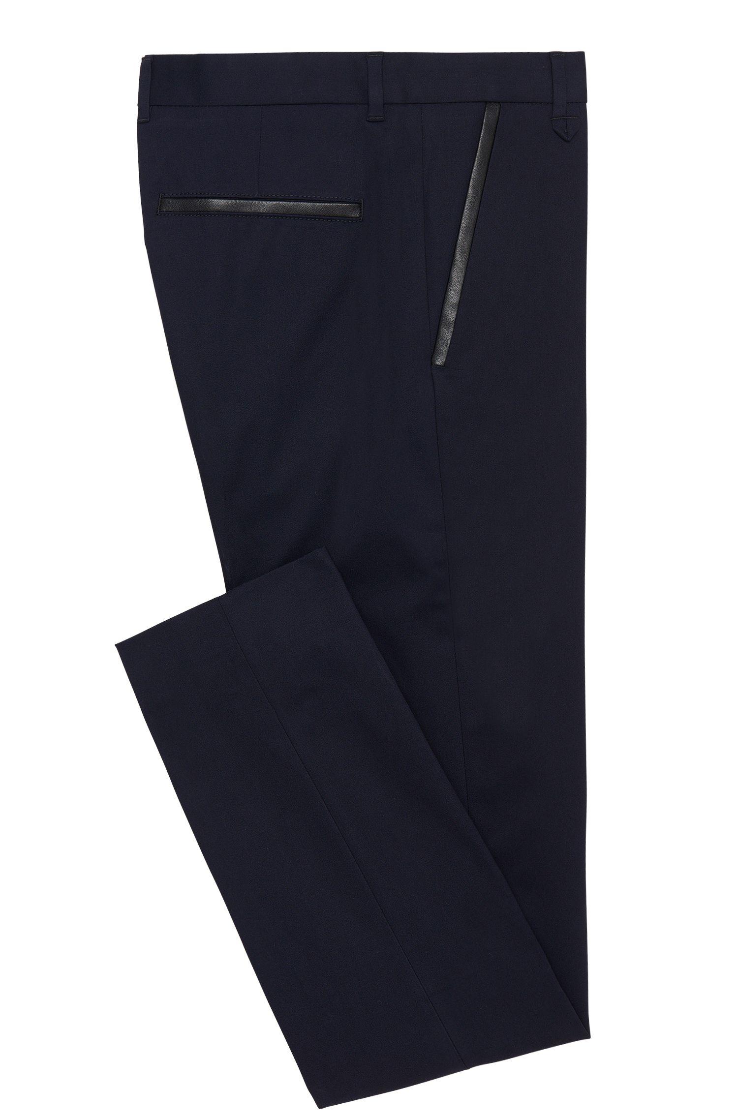 Pantalon Extra Slim Fit en coton extensible, pourvu de détails en similicuir: «Halyk»