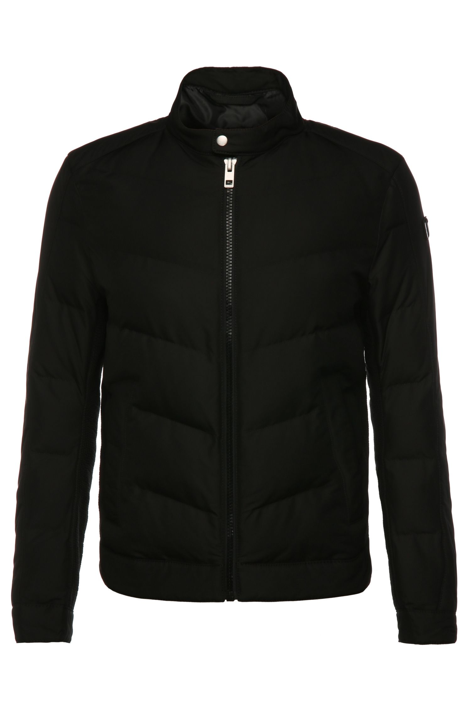 Slim-fit quilted jacket in fabric blend: 'Okonnor'