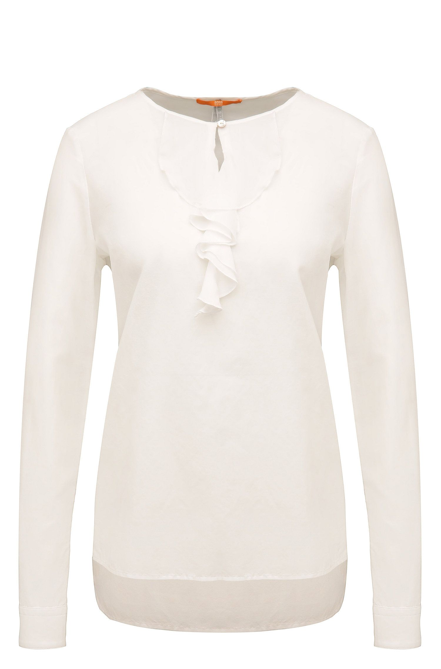 Relaxed-fit long-sleeved top in cotton blend with silk: 'Canas'