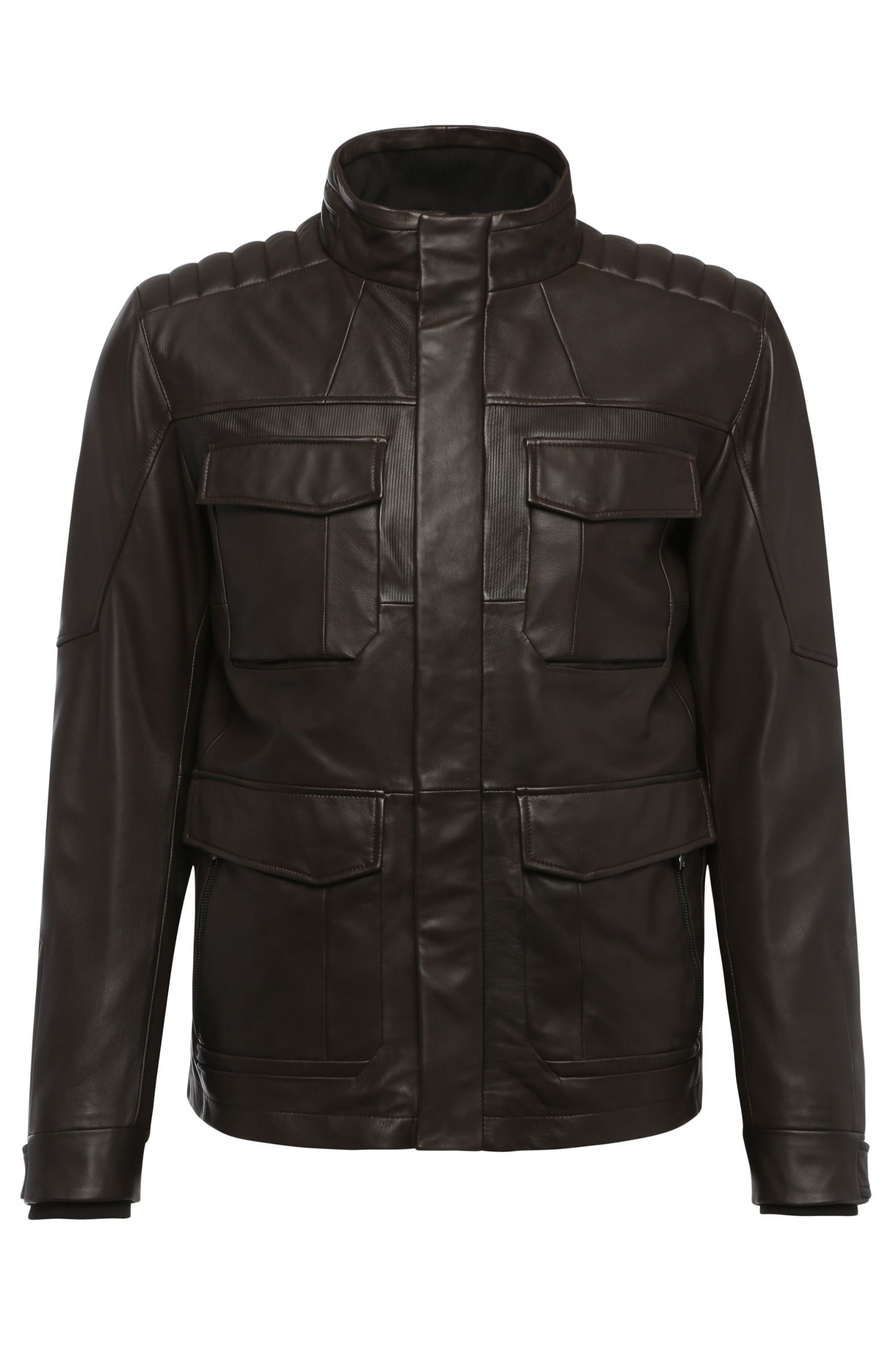 Regular-fit leather jacket with dividing seams: 'C_Jouan'