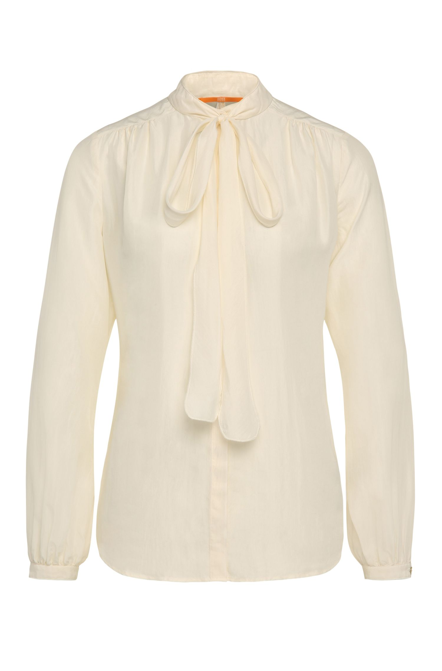 Relaxed-fit silk blouse with pussycat bow: 'Casi'