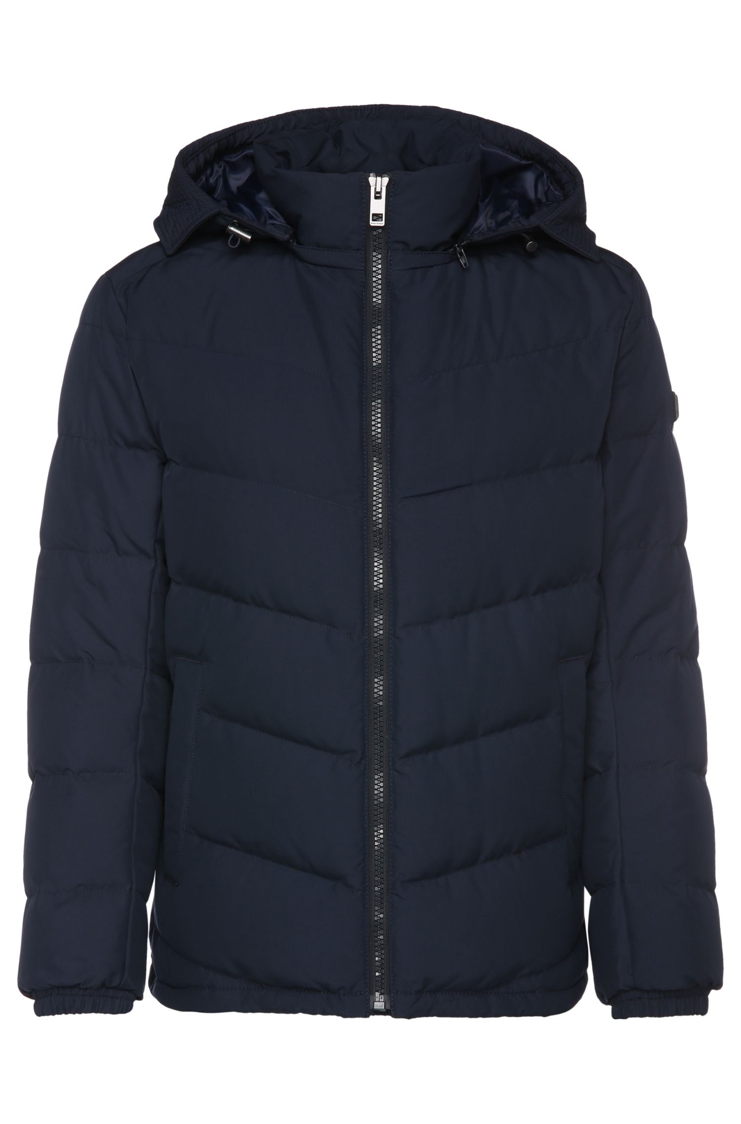 Regular-fit down jacket in quilted fabric blend: 'Owillem'