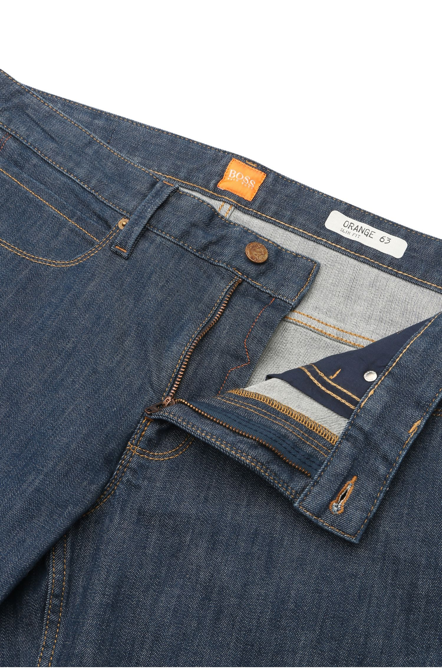 Gestructureerde slim-fit jeans met contrastnaden: 'Orange63'