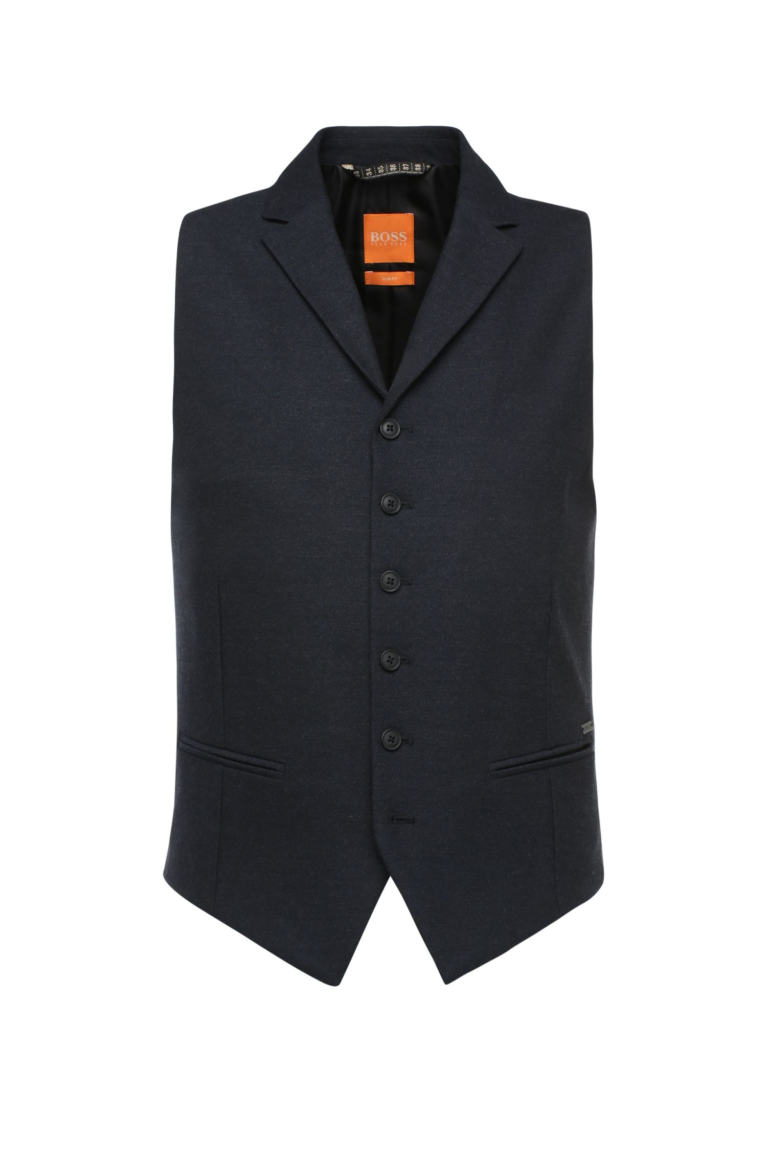 Slim-fit waistcoat in fabric blend with lapel collar: 'Braylon_BS'