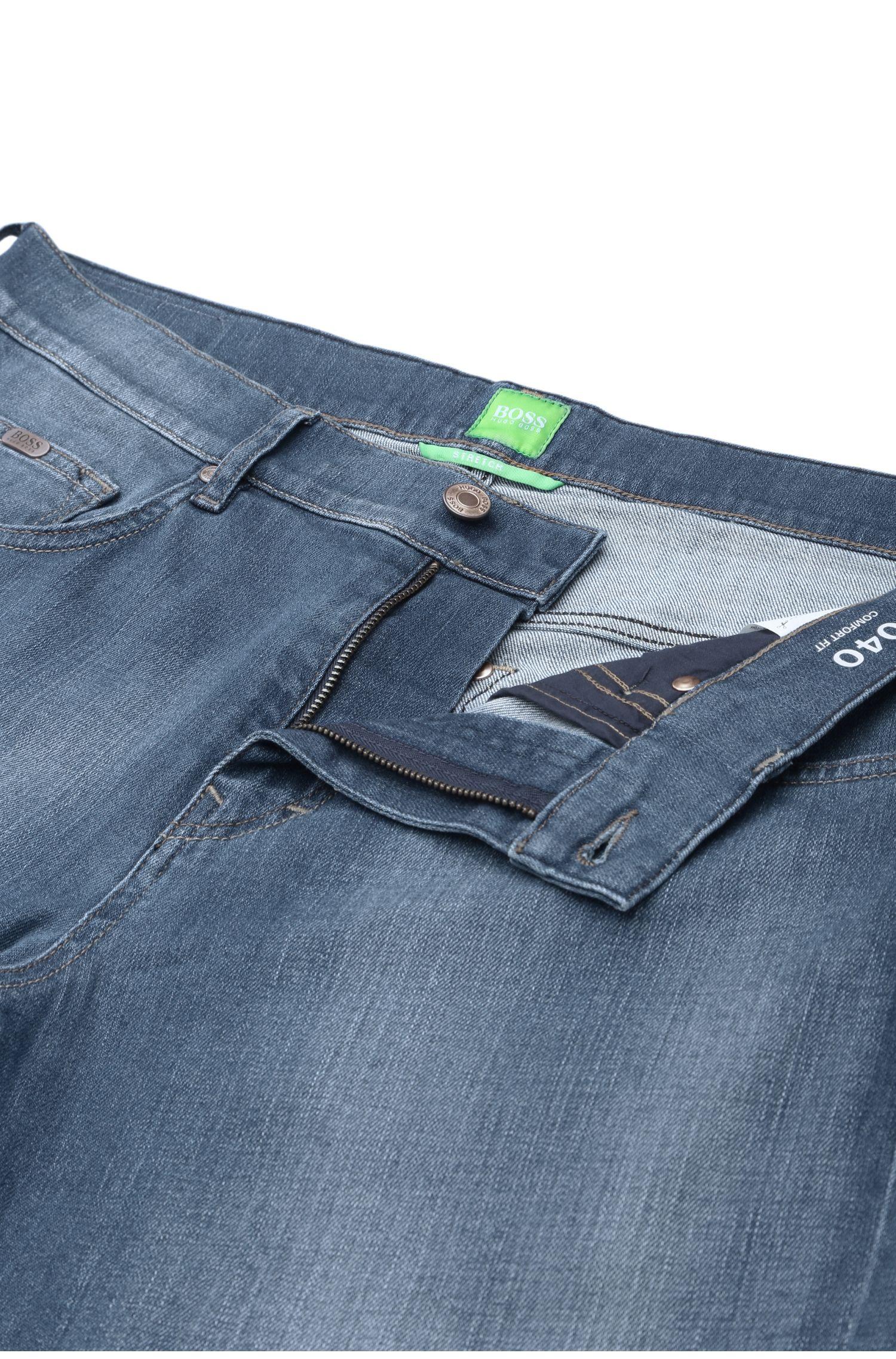 Jeans délavé Comfort Fit en coton mélangé à de l'élasthanne: «C-KANSAS»