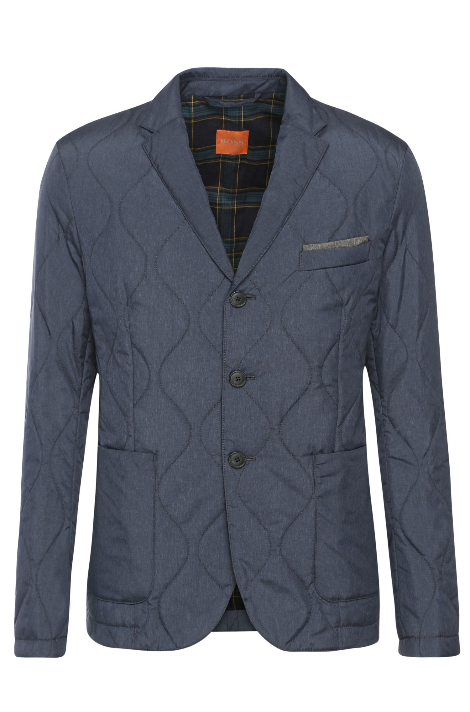 Quilted slim-fit jacket in textured fabric: 'Braith'