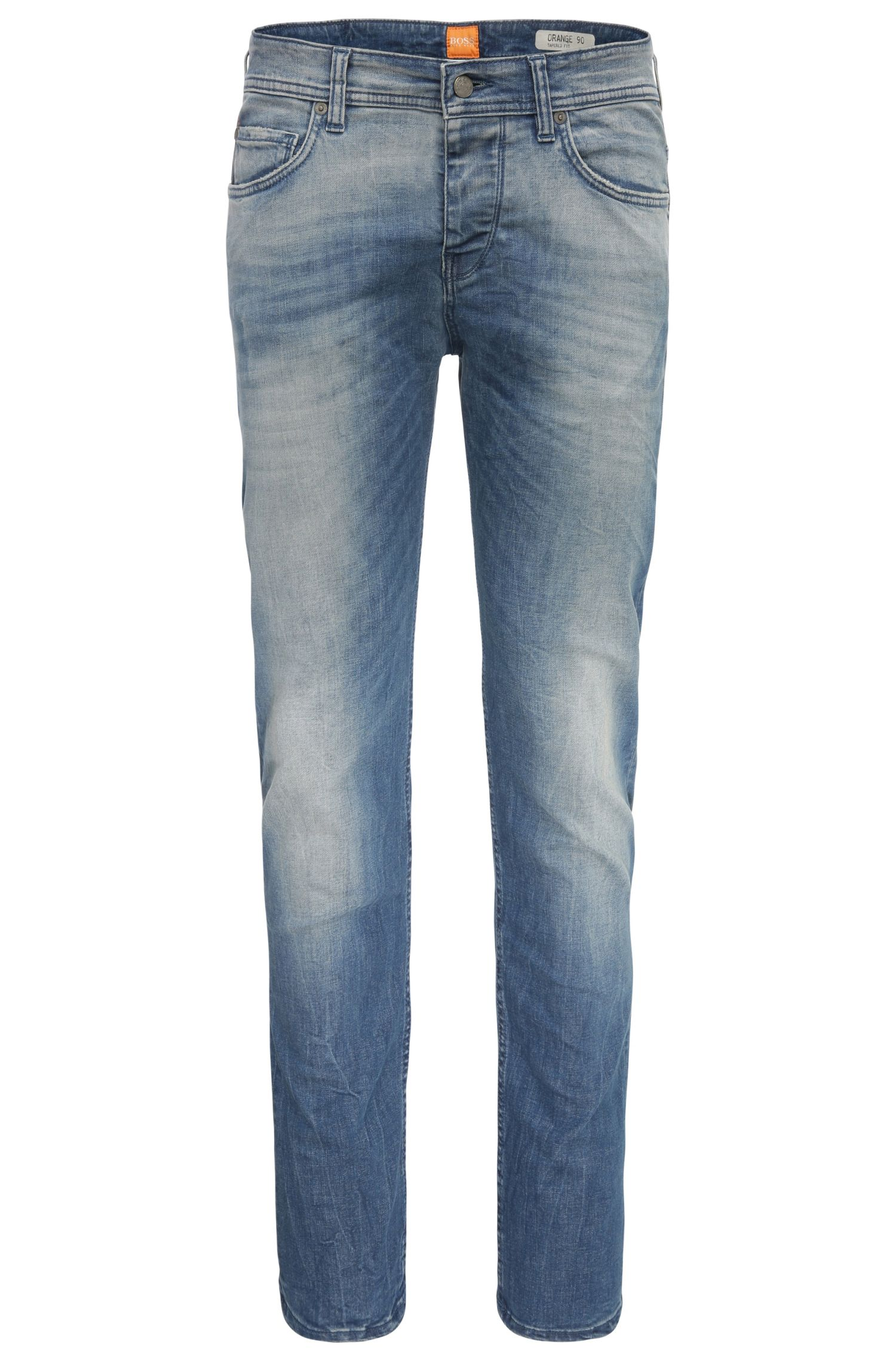 Tapered-Fit Jeans aus Baumwoll-Mix: ´Orange90`