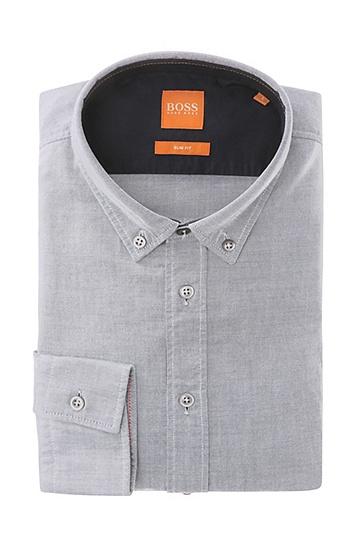Unifarbenes Slim-Fit Hemd aus Baumwolle: ´EdipoE`, Hellgrau