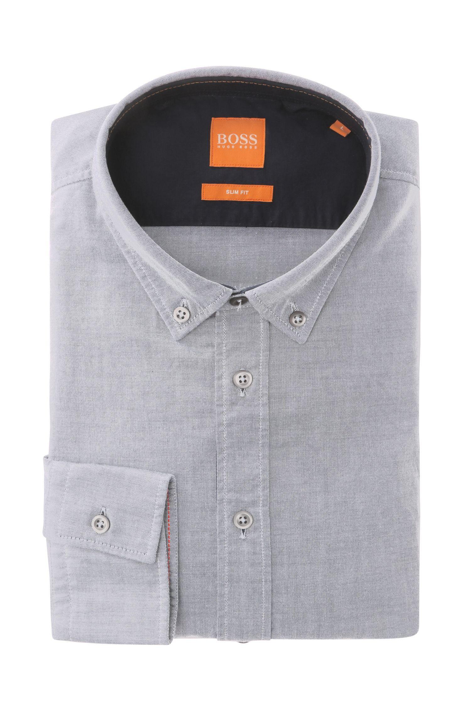 Unifarbenes Slim-Fit Hemd aus Baumwolle: ´EdipoE`