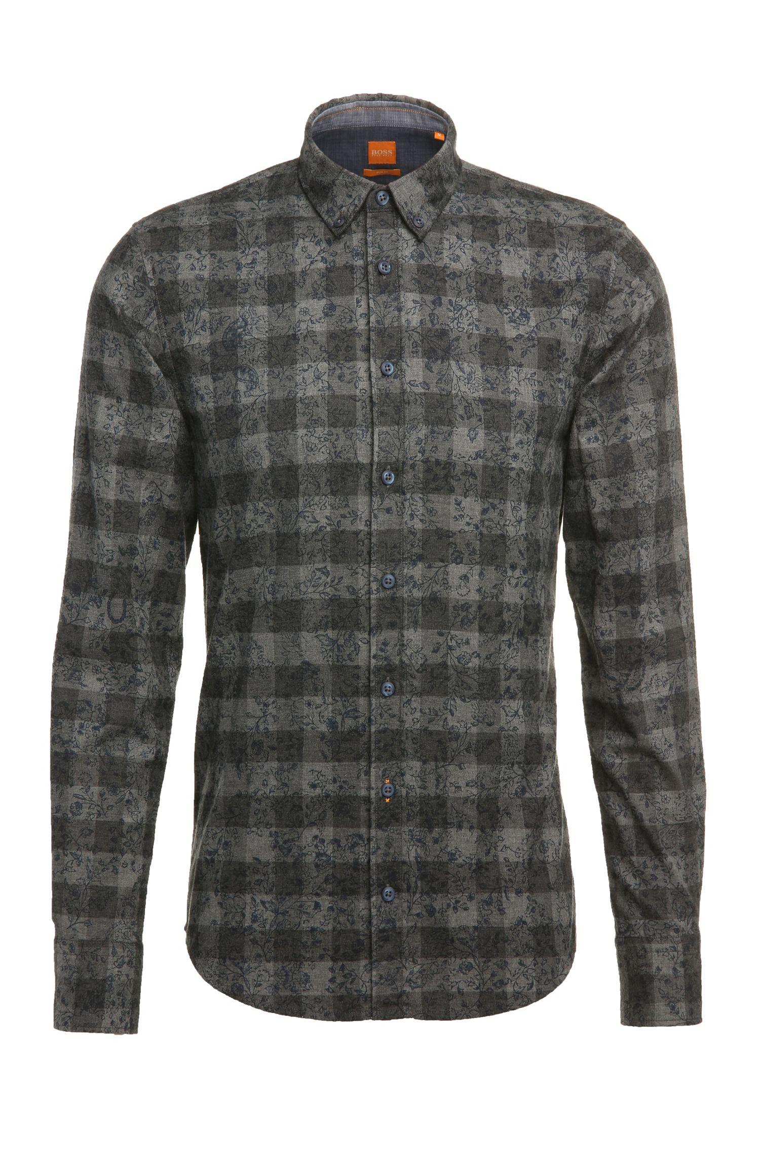 Slim-fit overhemd van katoenen flanel met dessin: 'EdipoE'