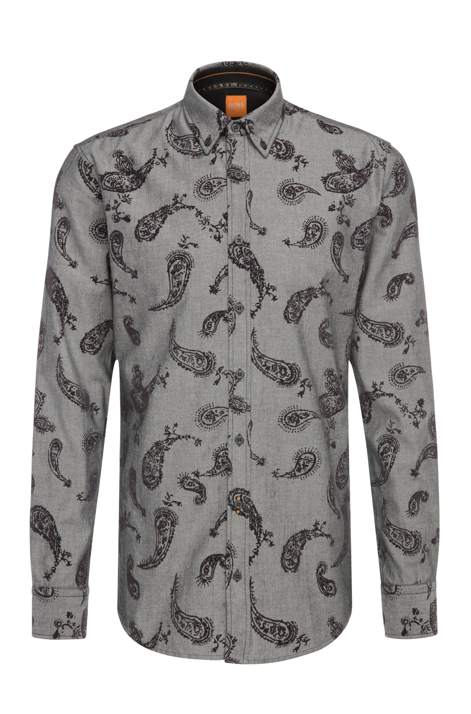Slim-fit cotton shirt with flock print: 'EdipoE'