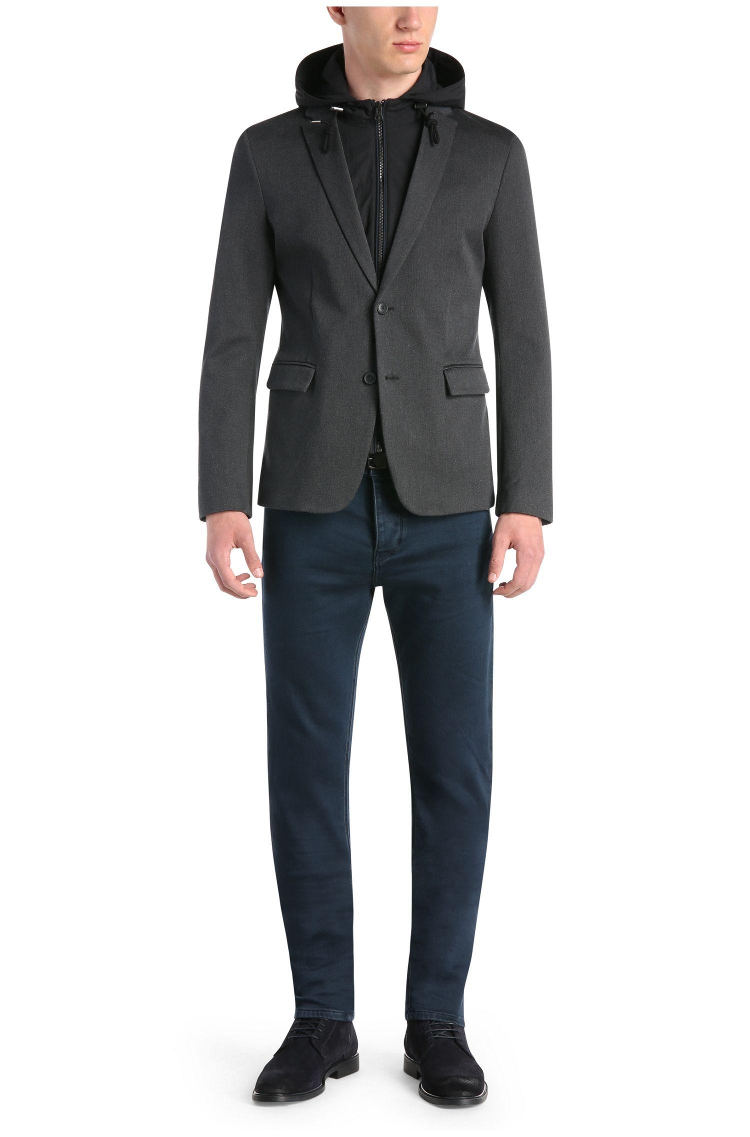 Veste de costume Slim Fit en jersey à empiècement amovible et capuche: «Bylan»
