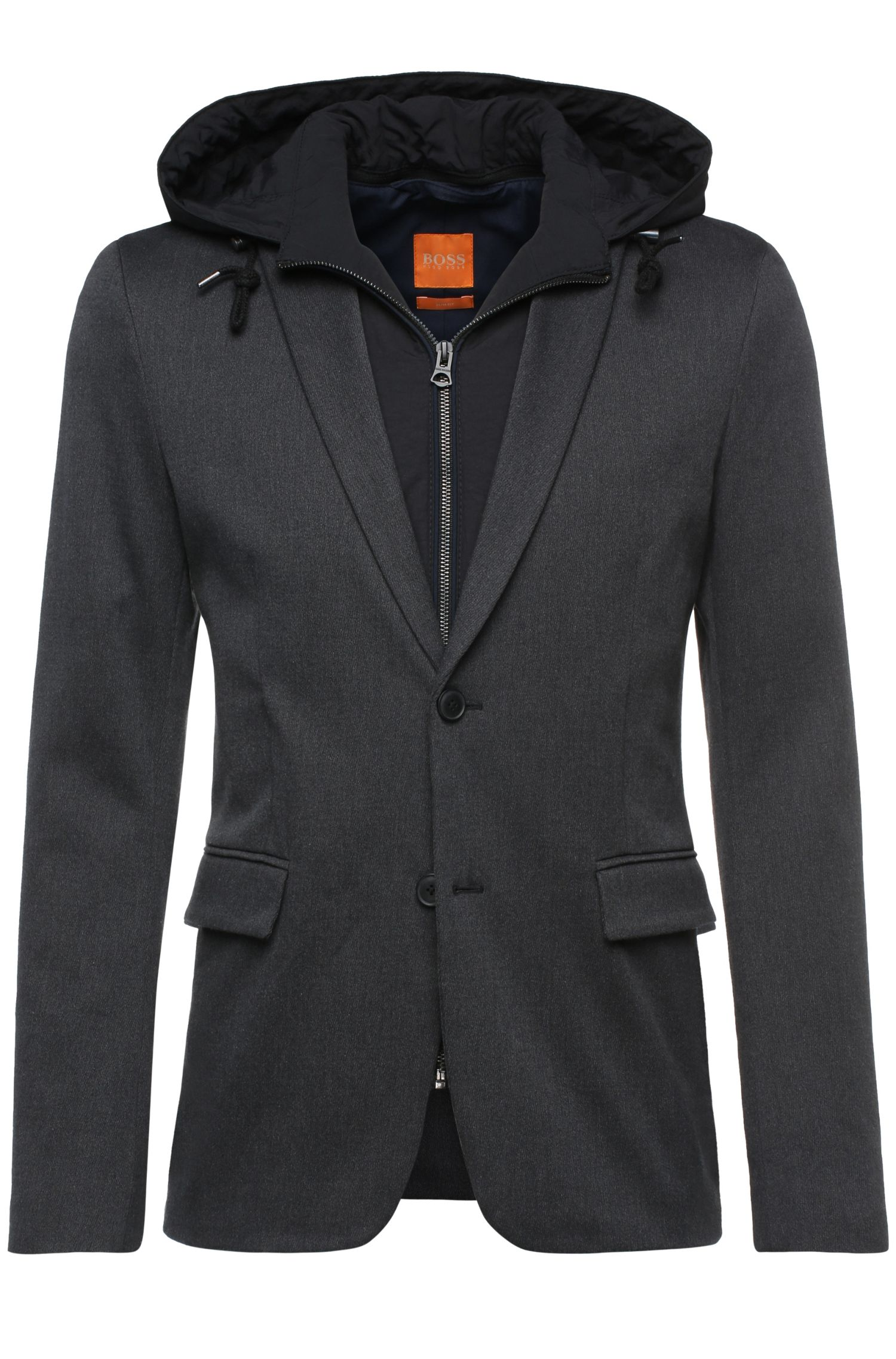 Slim-fit jacket in jersey with a detachable insert and hood: 'Bylan'